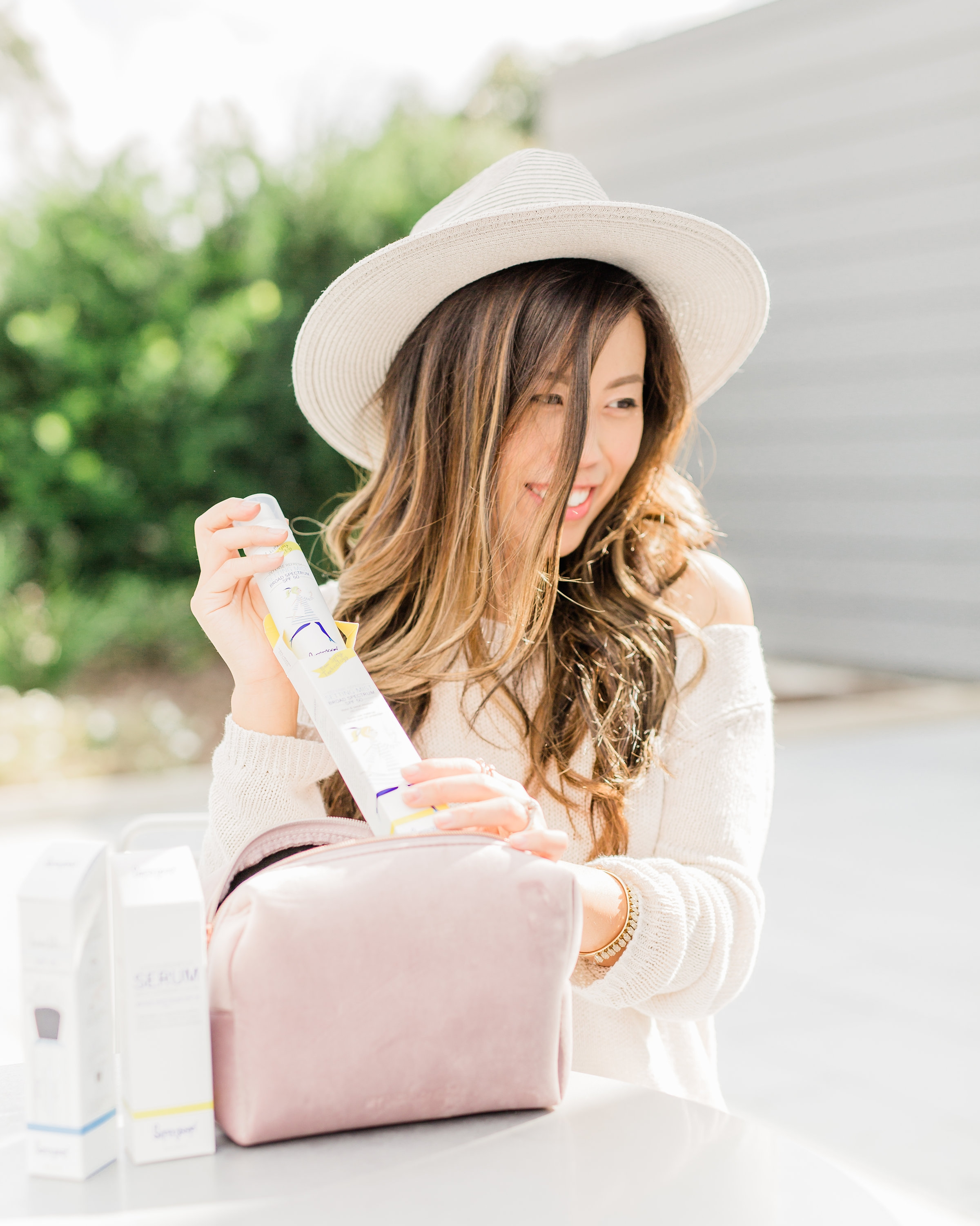 Supergoop! defense refresh setting mist review sunscreen routine 5 minute make up beauty advice for aging skin