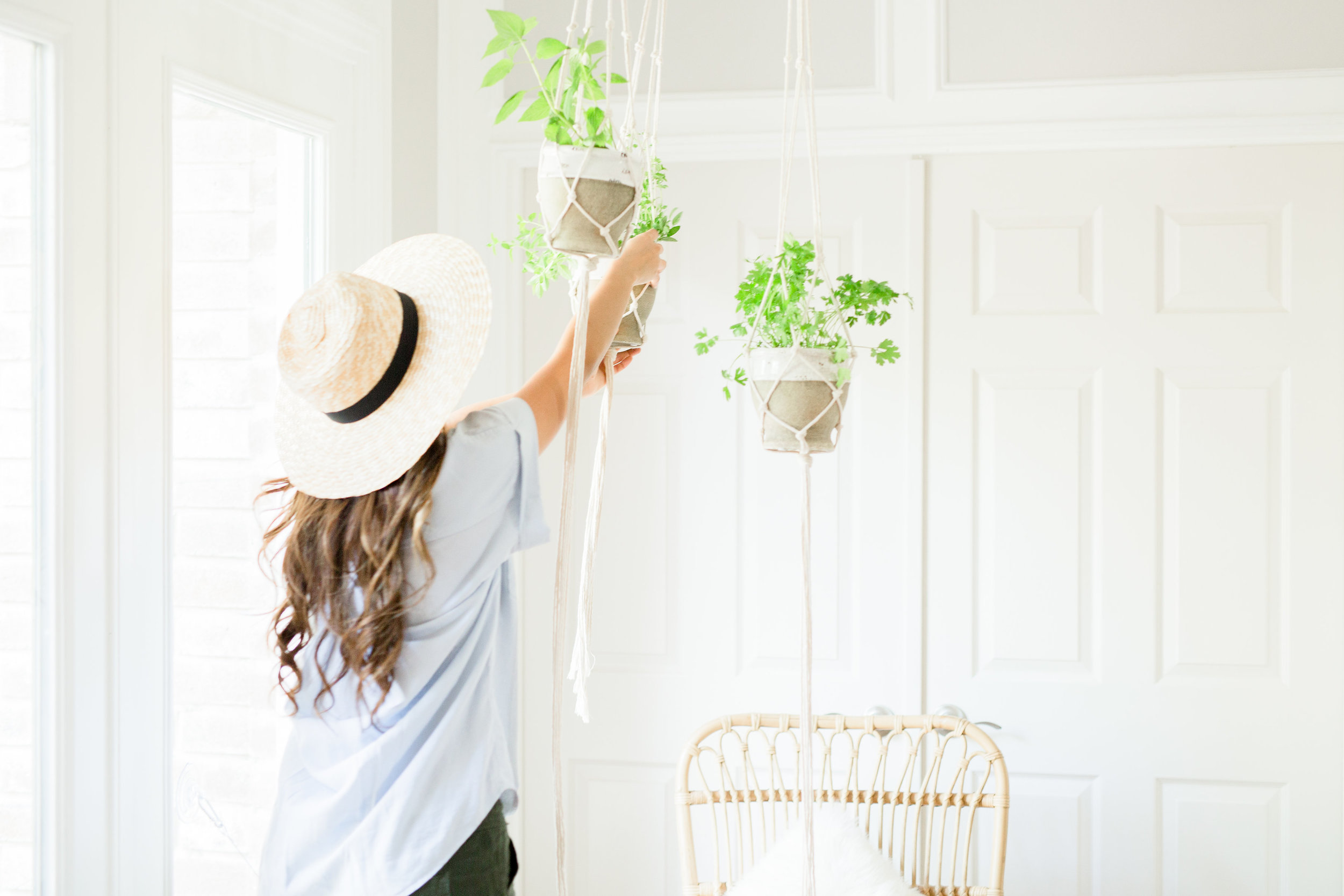 Herb garden play date toddler activity with DIY macrame hanger urban garden