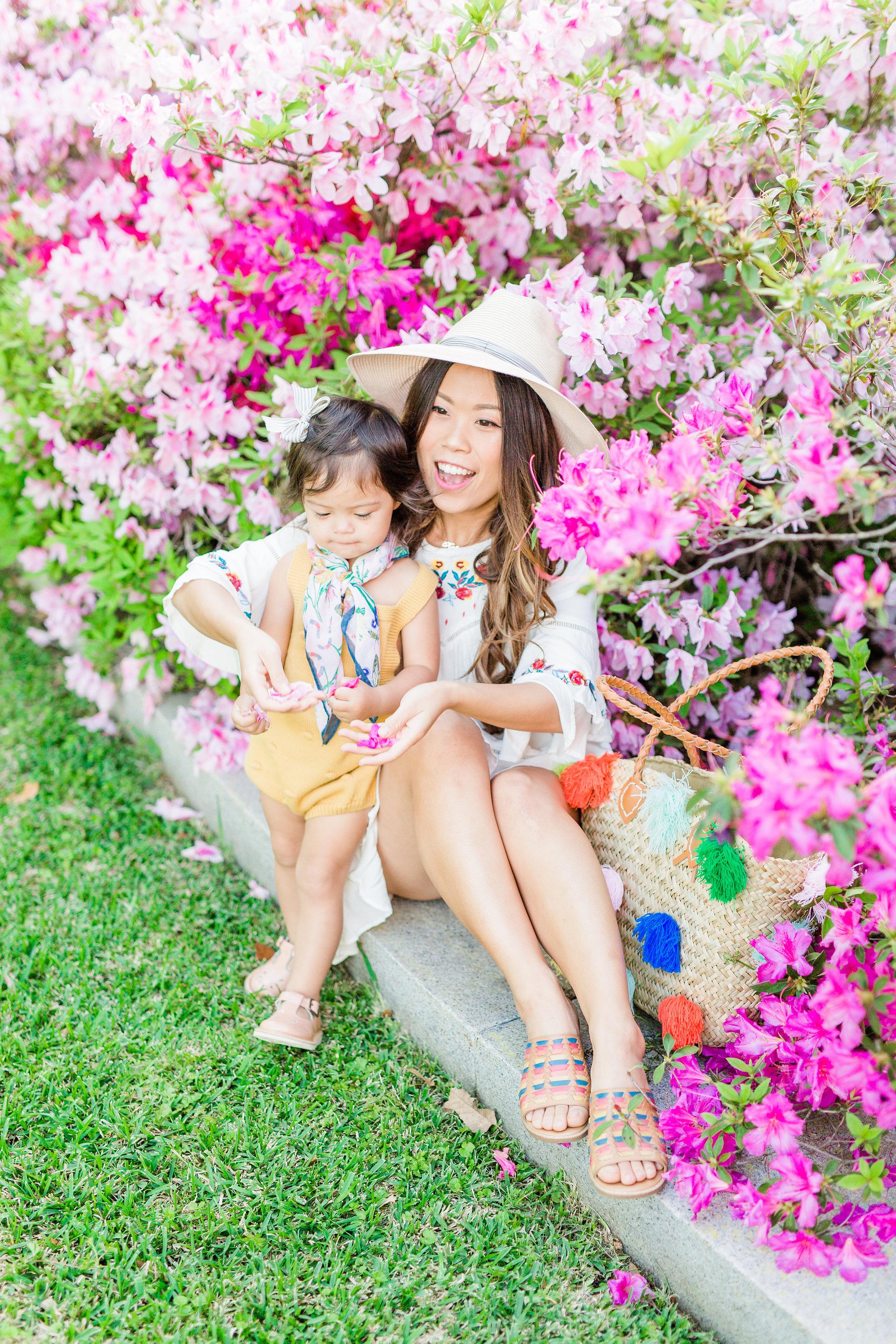 Joyfullygreen Comfortiva Brileigh Houston Azalea Trail Photoshoot. Pom Pom bag rainbow sandals mommy an me boho outfits.jpg