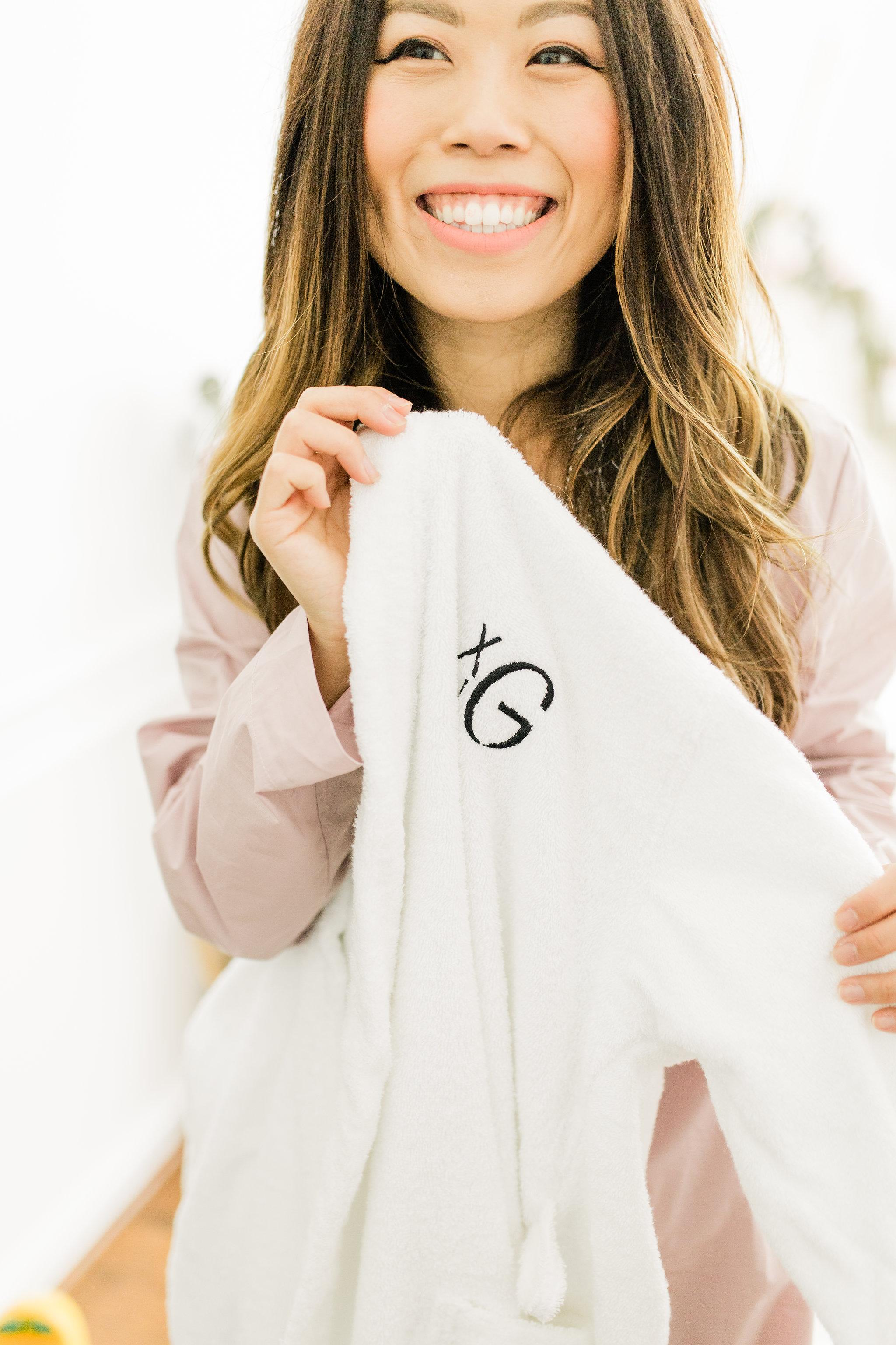 Joyfullygreen The Company Store Unisex White Fluffy Robe Monogramed Mother's Day Gift Idea.jpg