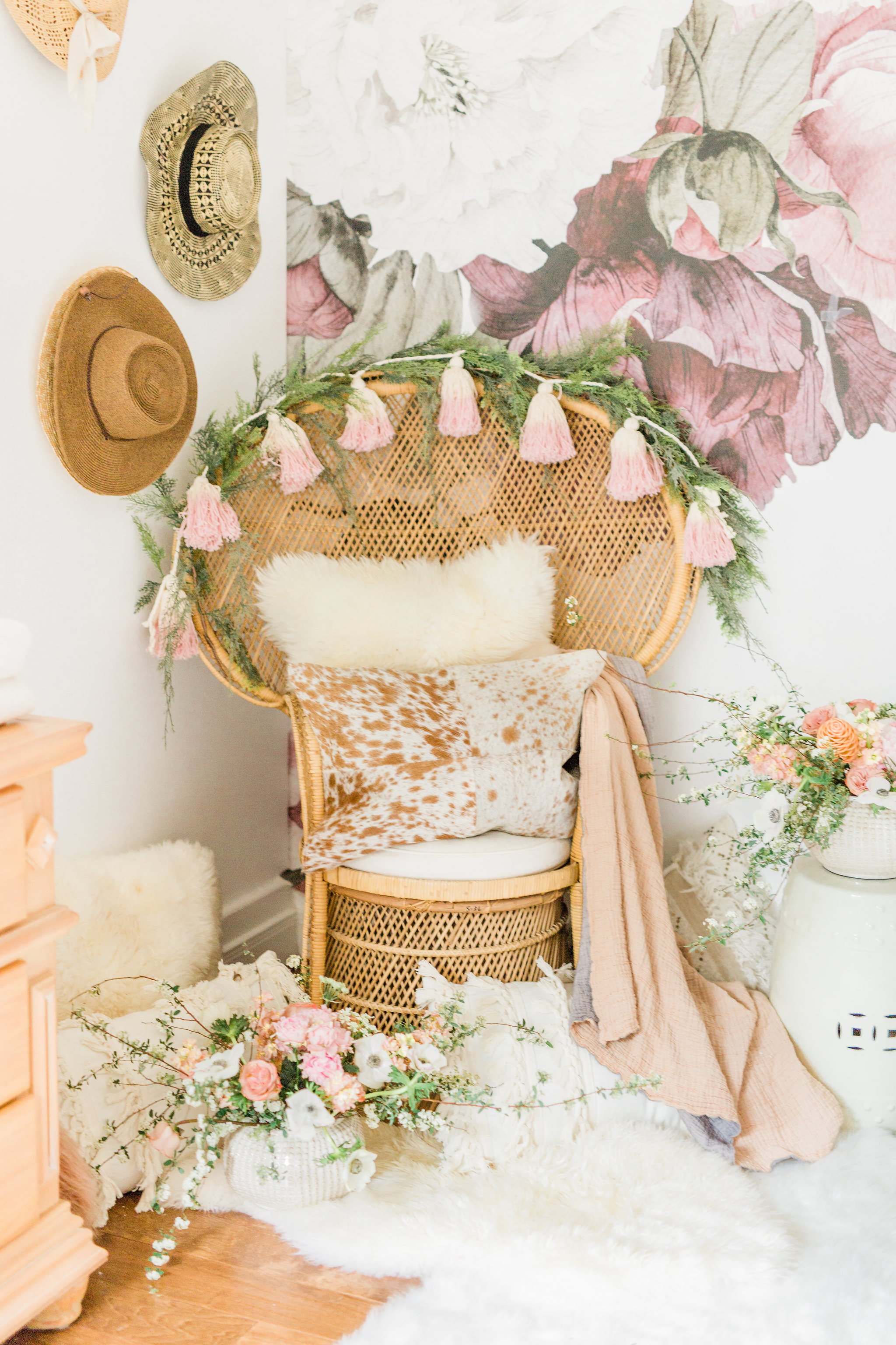 Neutral Blush and White Spring Master Bedroom Makeover, How to make/dress a bed in 3 steps. Peacock chair