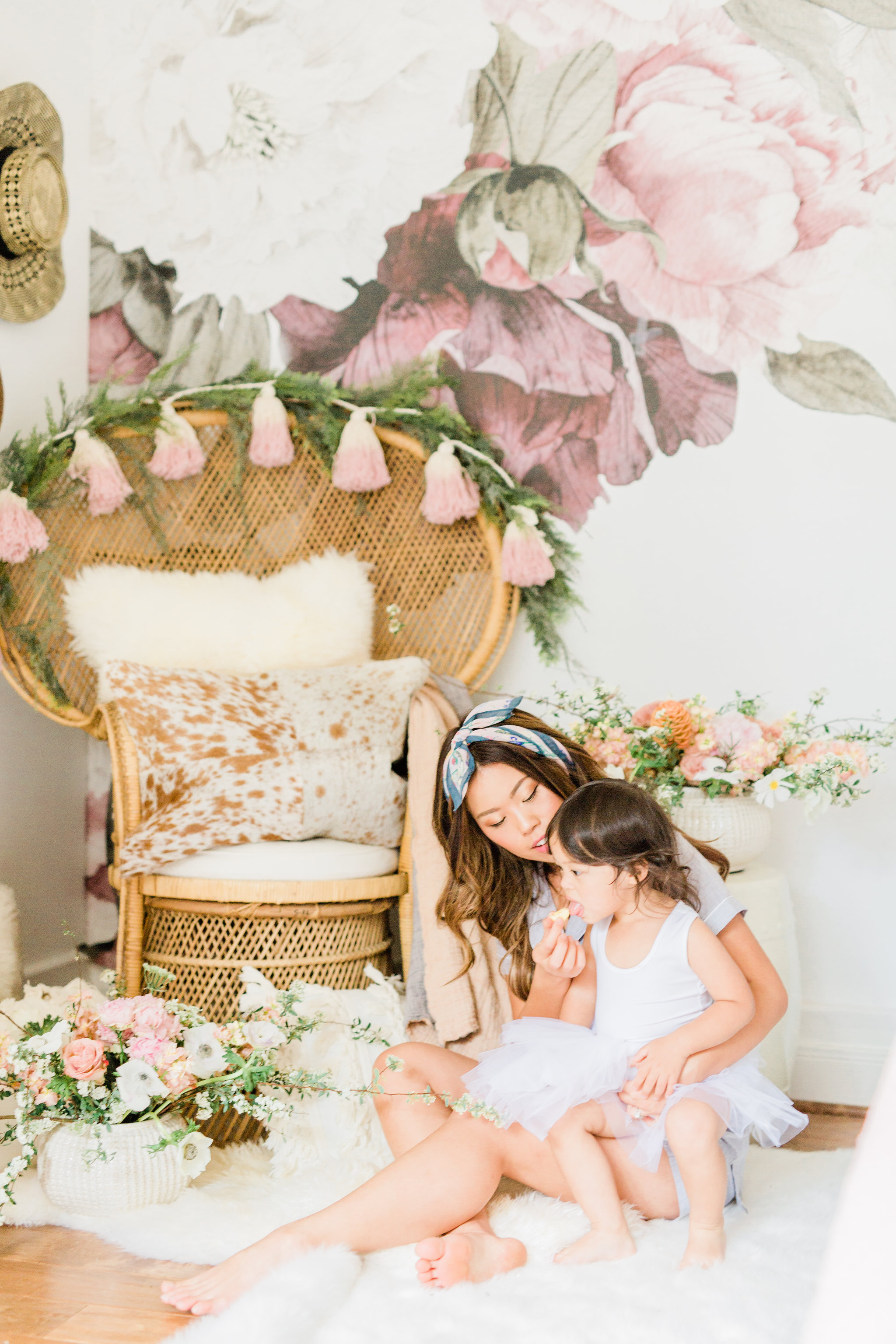 Neutral Blush and White Spring Master Bedroom Makeover, How to make/dress a bed in 3 steps with peacock chair