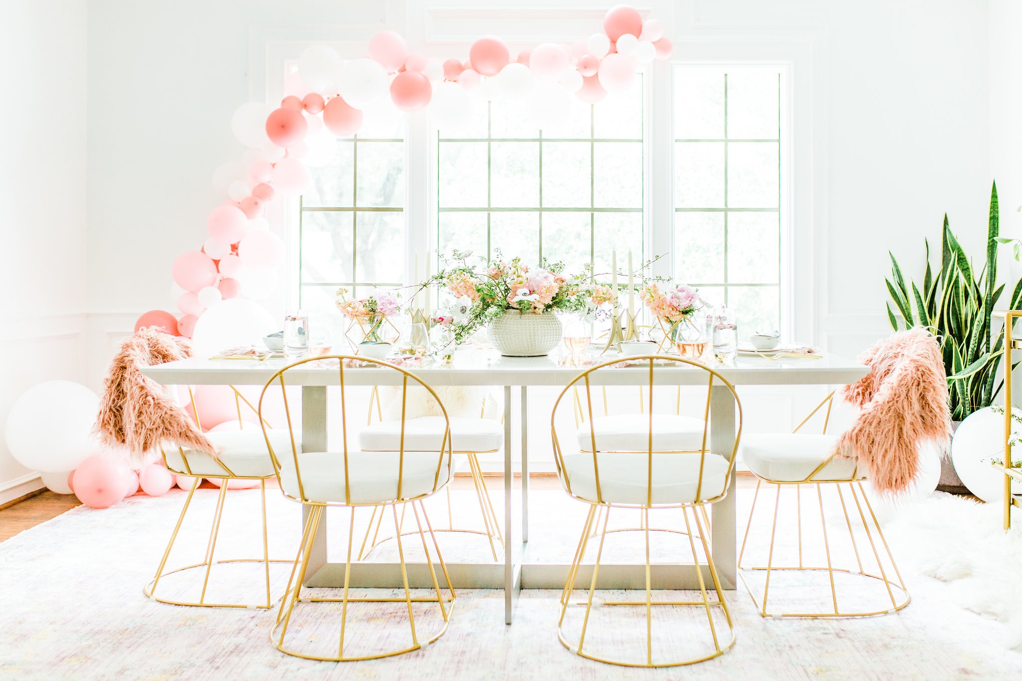 Olivia and Oliver Gold, Blush and Greenry Plants Gilded Garden Styled Bridal Shower Brunch with Bed Bath Beyond Eurostyle Tosca Dining Table with Magnolia Home by Joanna Gaines Ophelia 9'6 x 12'6 Area Rug in Berry/Multi Joyfullygreen3.jpg