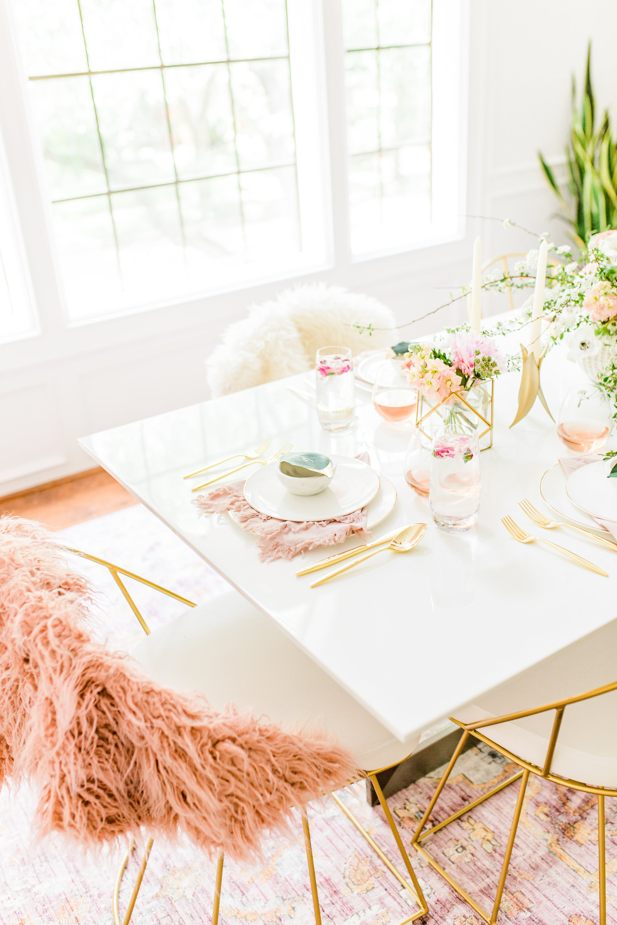 Olivia and Oliver Gold, Blush and Greenry Plants Gilded Garden Styled Bridal Shower Brunch with Bed Bath Beyond White dining table.jpg