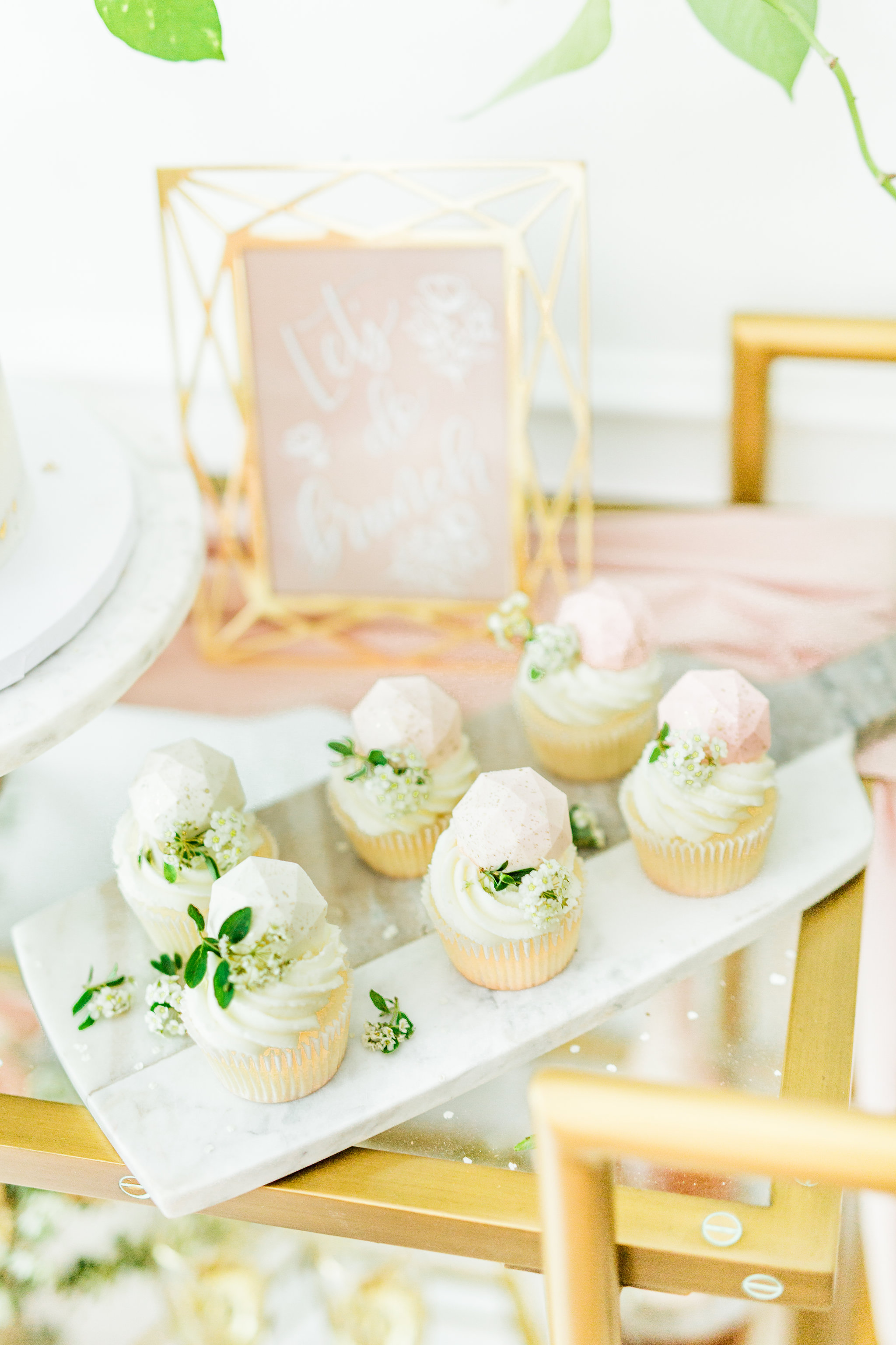 Dessert bar bridal shower Olivia and Oliver Gold, Blush and Greenry Plants Gilded Garden Styled Bridal Shower Brunch with Bed Bath Beyond Joyfullygreen floral cupcakes with geometric gems.jpg