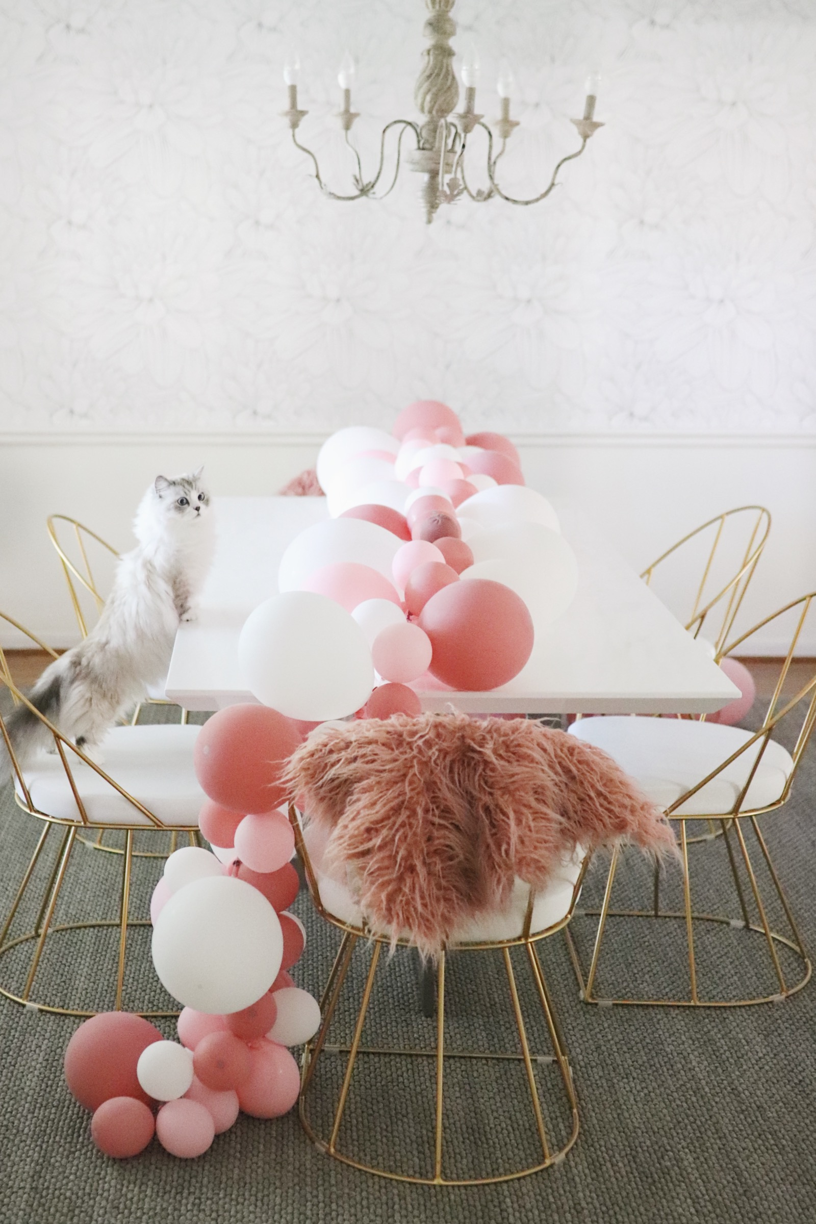 Dining Room Make over before after wall paper ballon garland