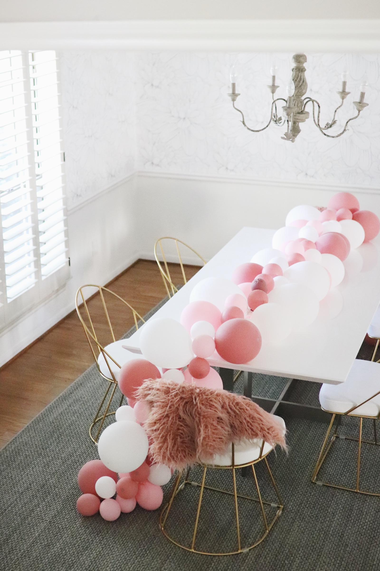 Dining Room Make over before after peony floral wallpaper ballon garland