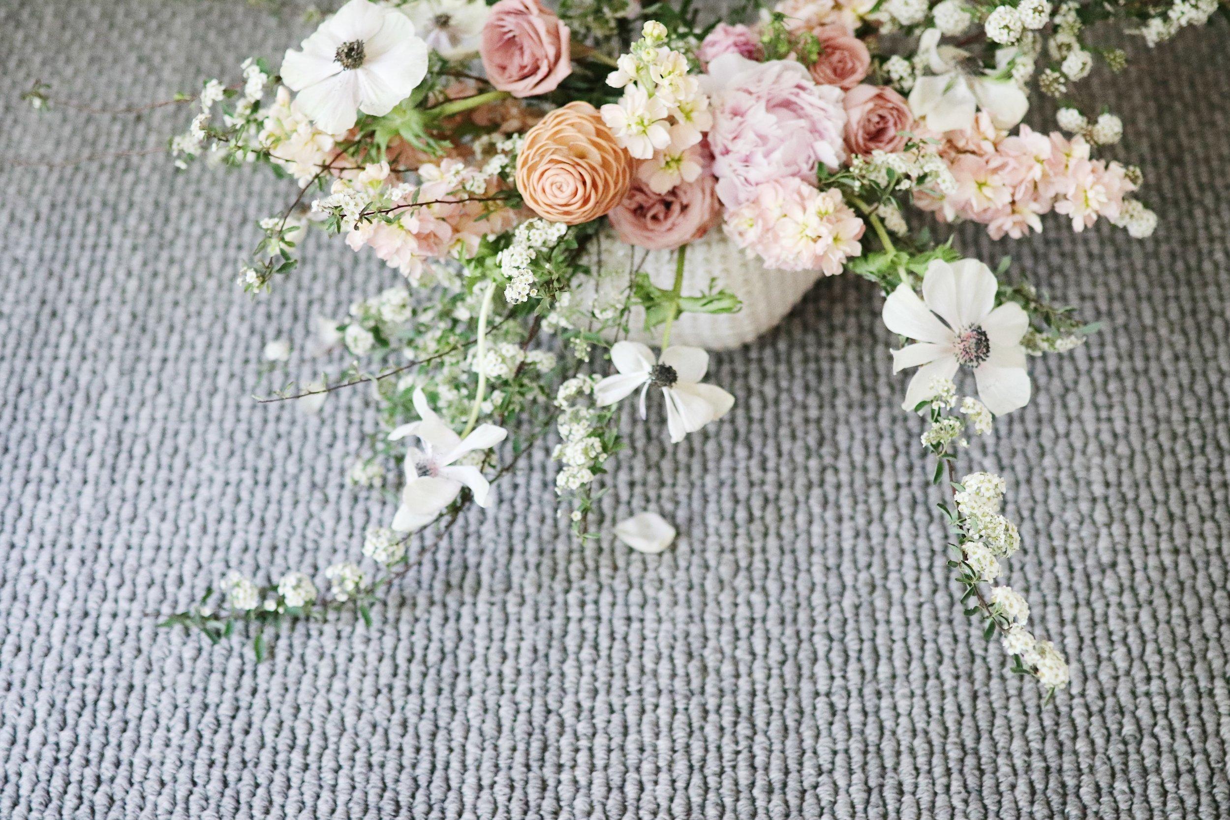 Dining Room Make over before after wall paper ballon garland organic flower arrangement peach blush white