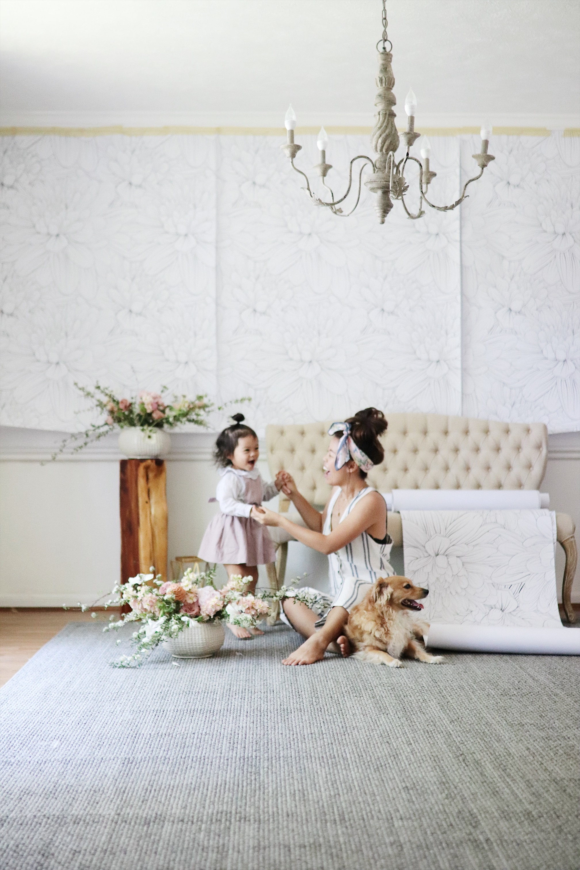 Removable Wallpaper installation Dining Room Make over modern farm house ballon garland