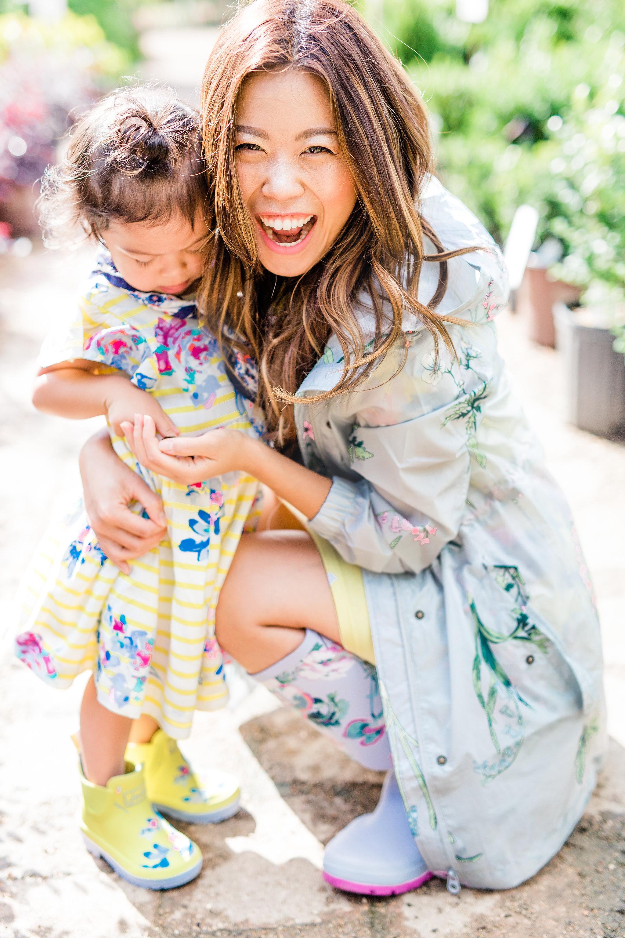 Joules Go Lightly Botanical Print Rain coat with matching wellies mommy and me Joyfullygreen  .jpg
