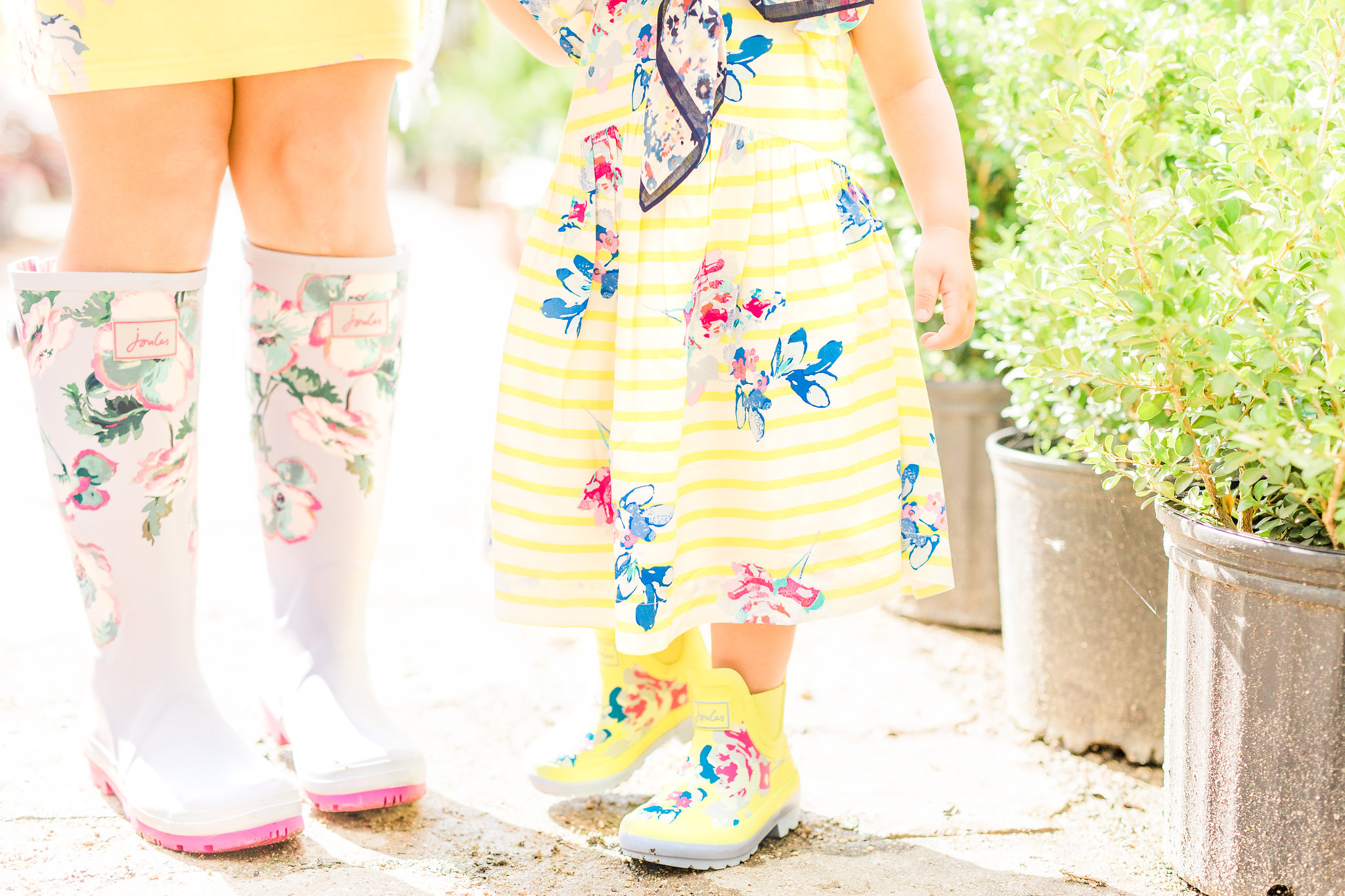 Joules Tall Wellyprint Floral Print Rain boots Tommy and me yellow pink rainboots.jpg