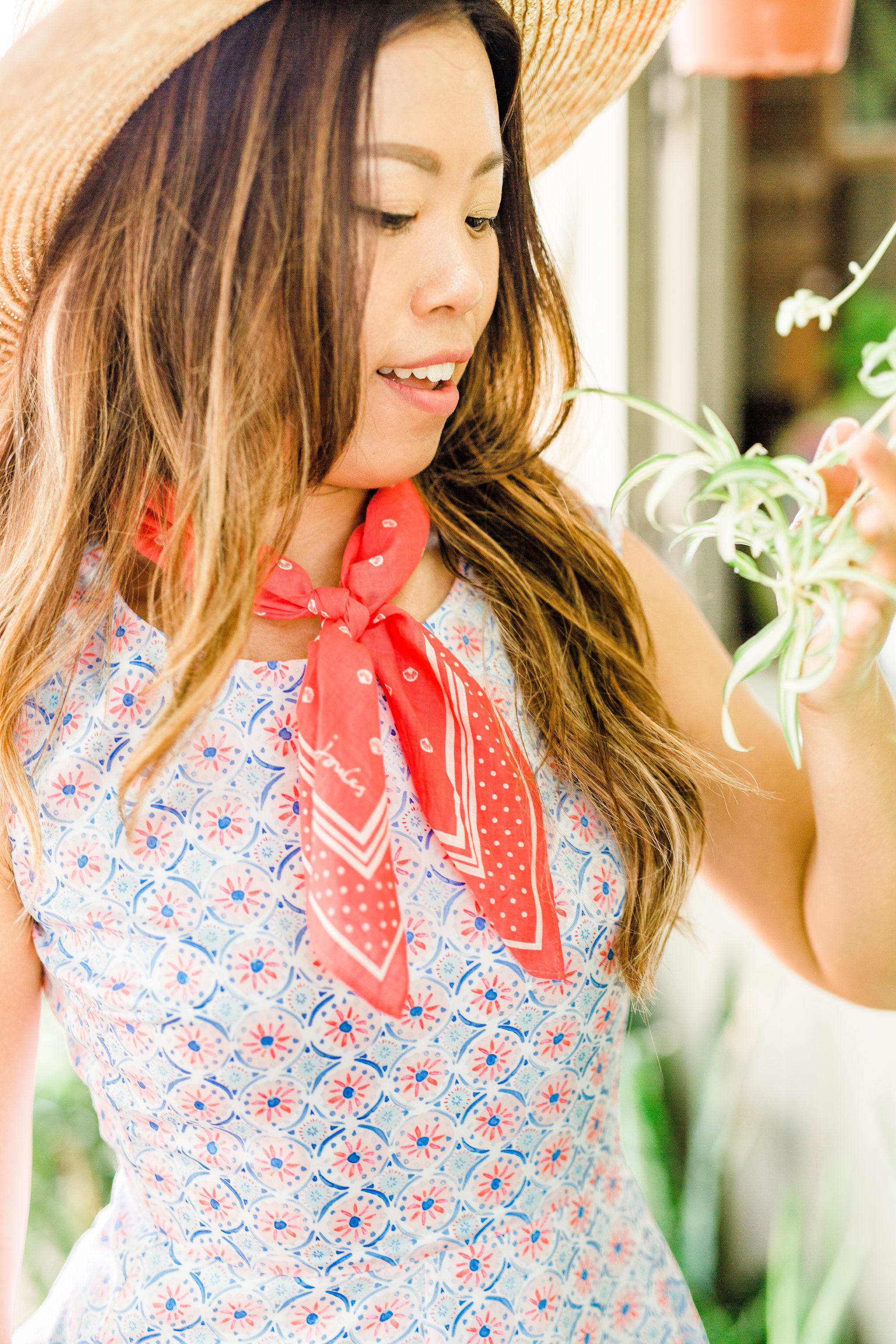 Printed Neckerchief How to wear a bandana Joules Summer Fit and Flair Dress.jpg