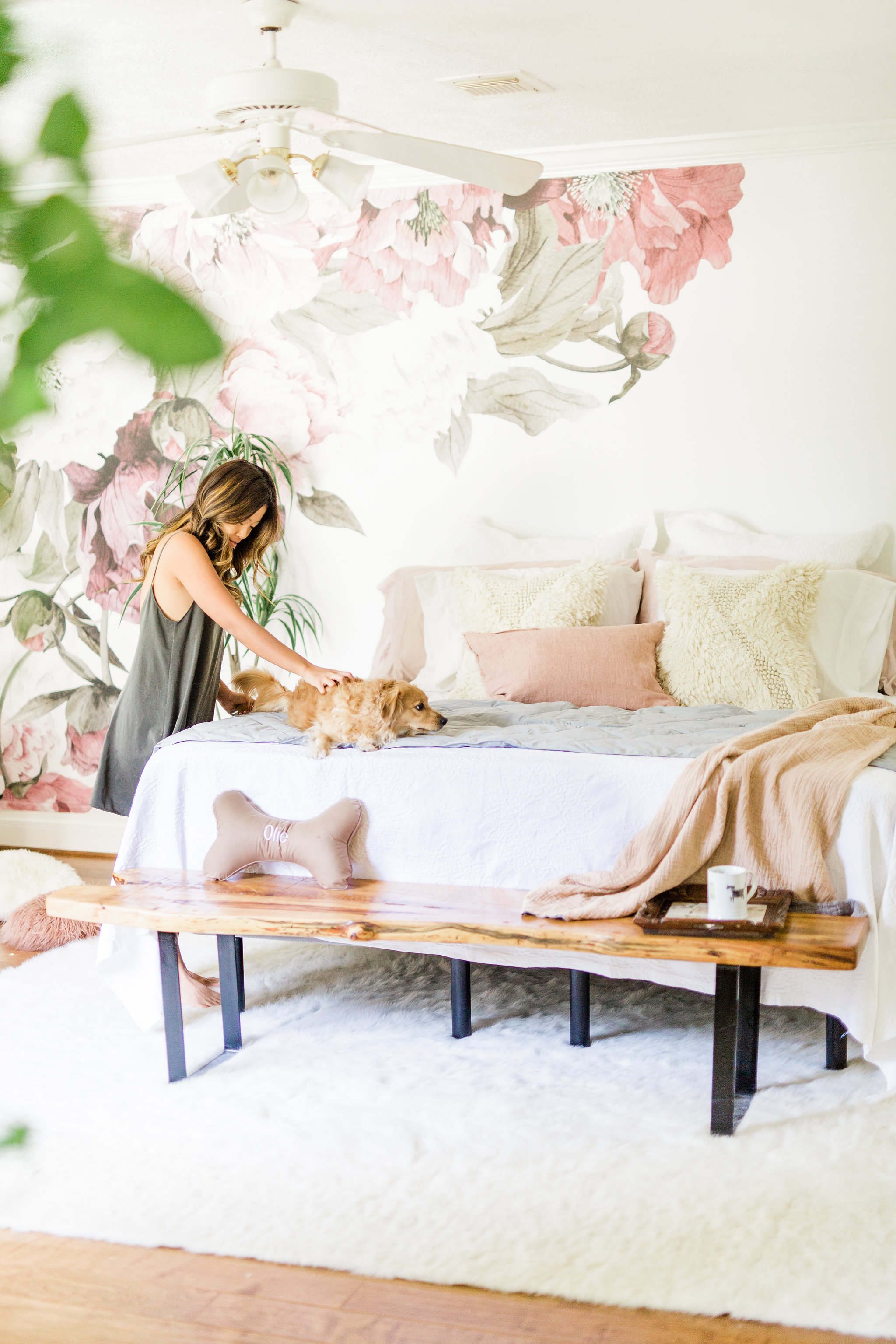 3 ways to create a welcoming and relaxing space for your new puppy on National Dog Day Pet Teepee Dog Bed decor ideas with floral removable wall paper