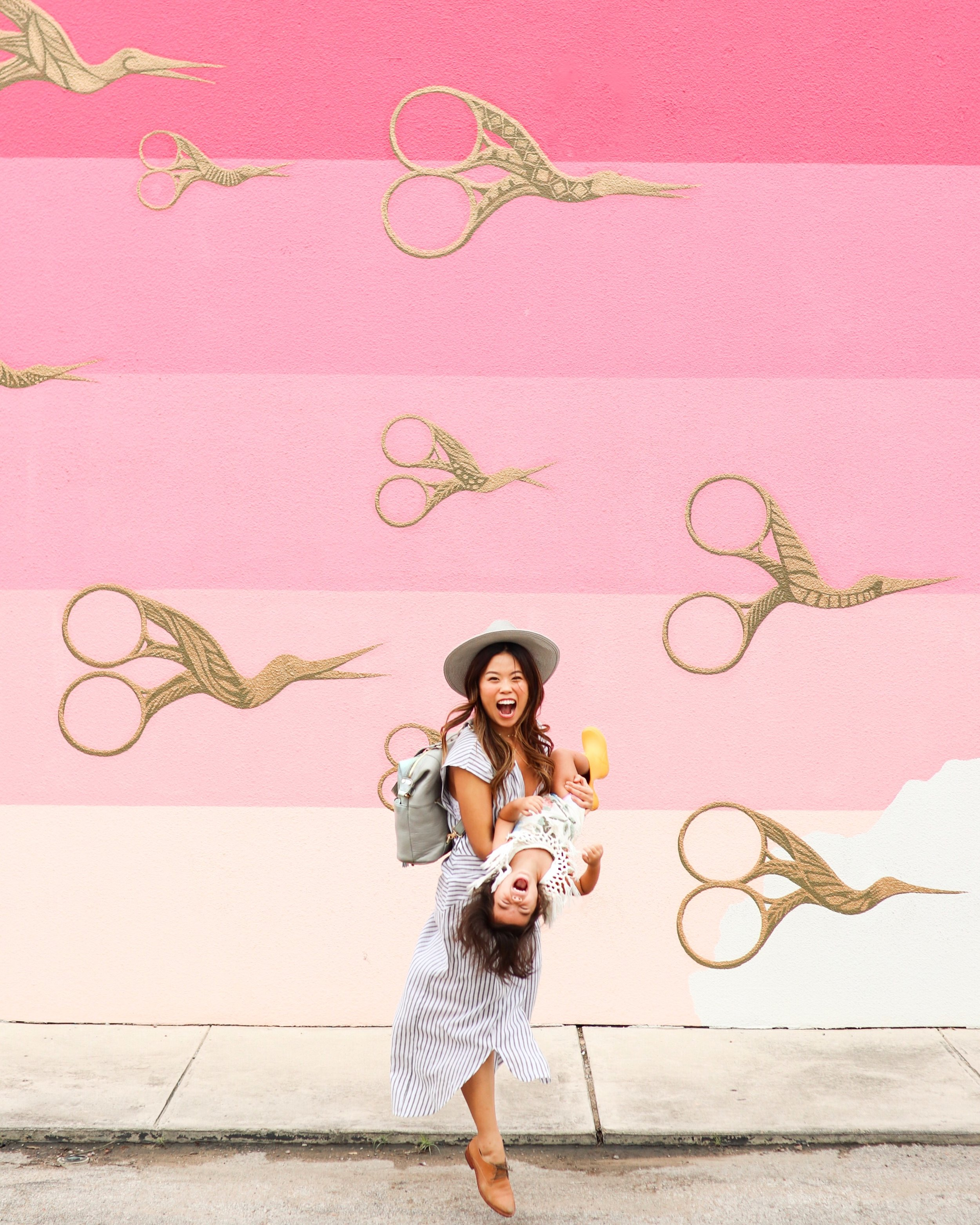 Pink Flying Scissors Mural Austin in 72 Hours - Most Instagrammable Spots to Stay, Eat and Play with a Toddler