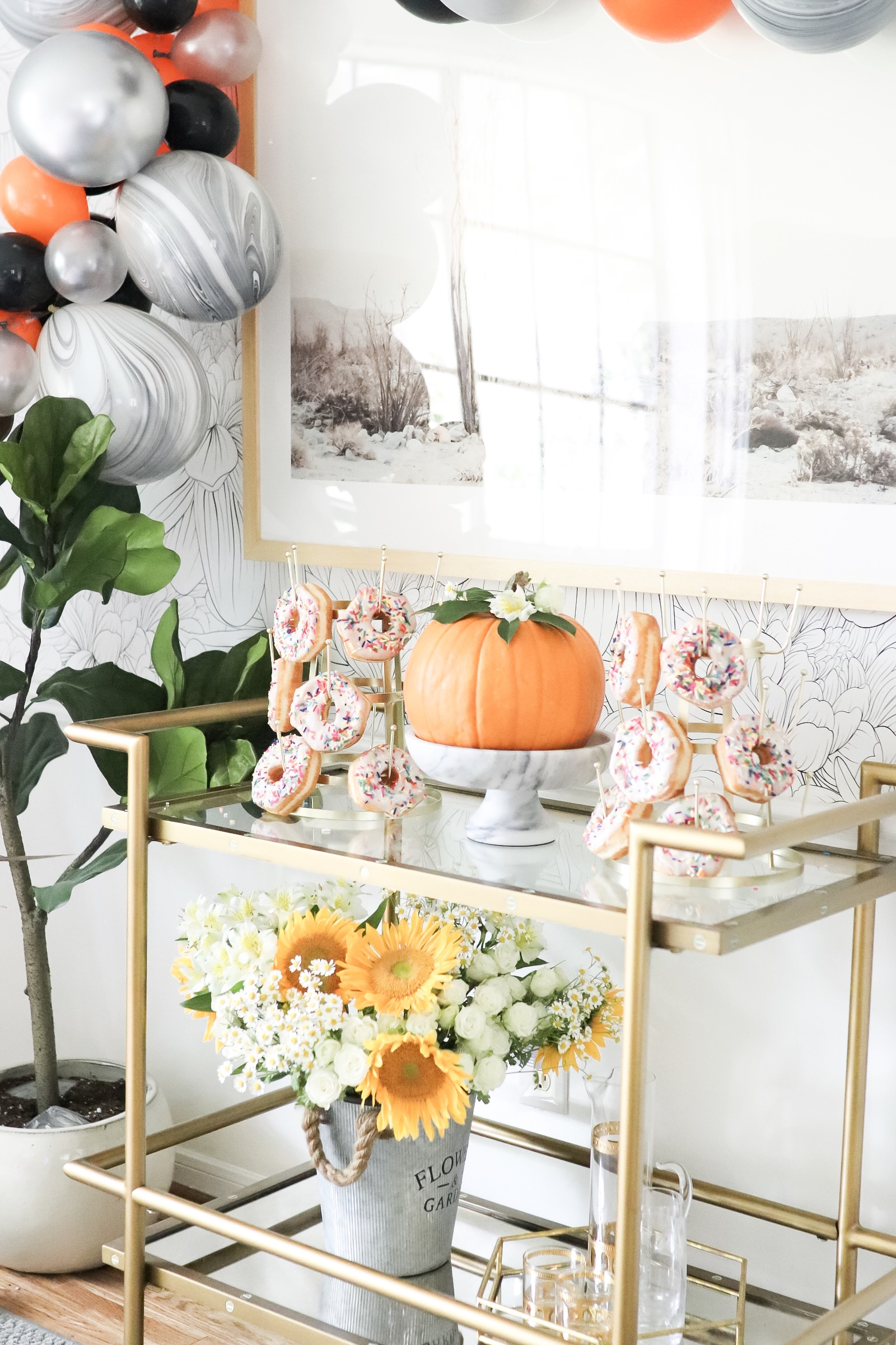 Fall Harvest Donut Party Dining Room Set Up in 30 Minutes Ballon Garland Halloween Donut Party