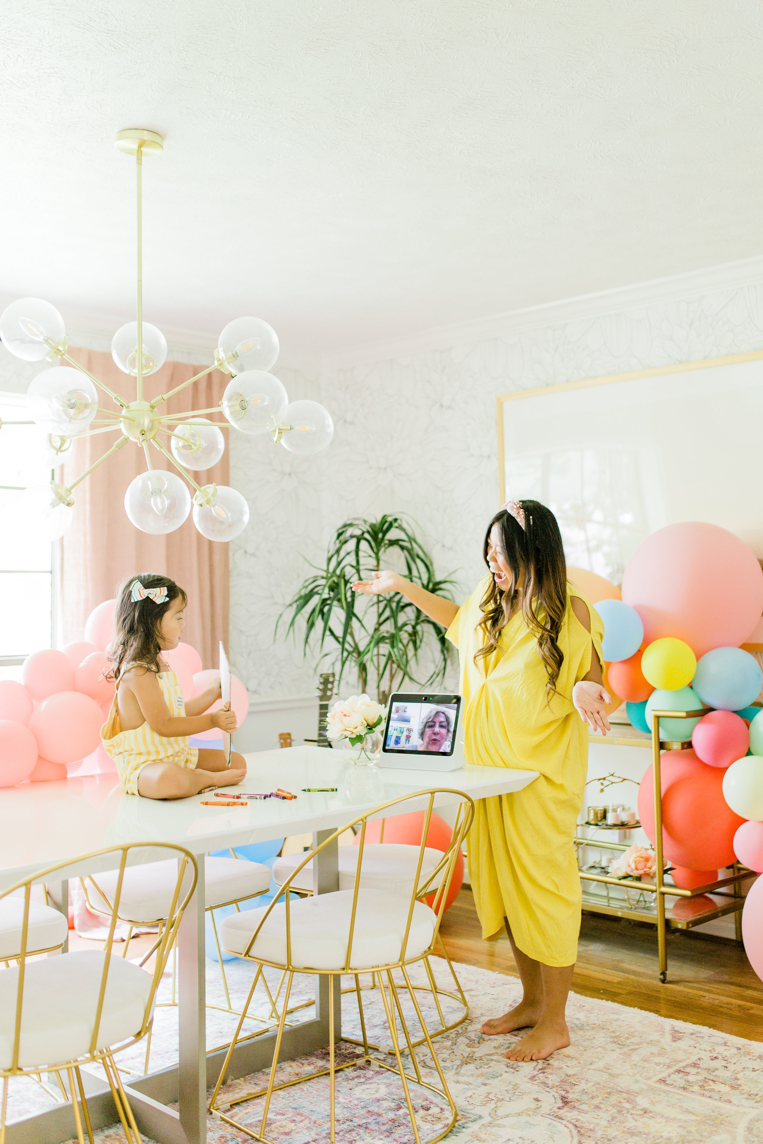 A Busy Mom's Top Amazon Prime Day Deal Pick Facebook Portal Review Colorful Dining room pastel balloon garland DIY