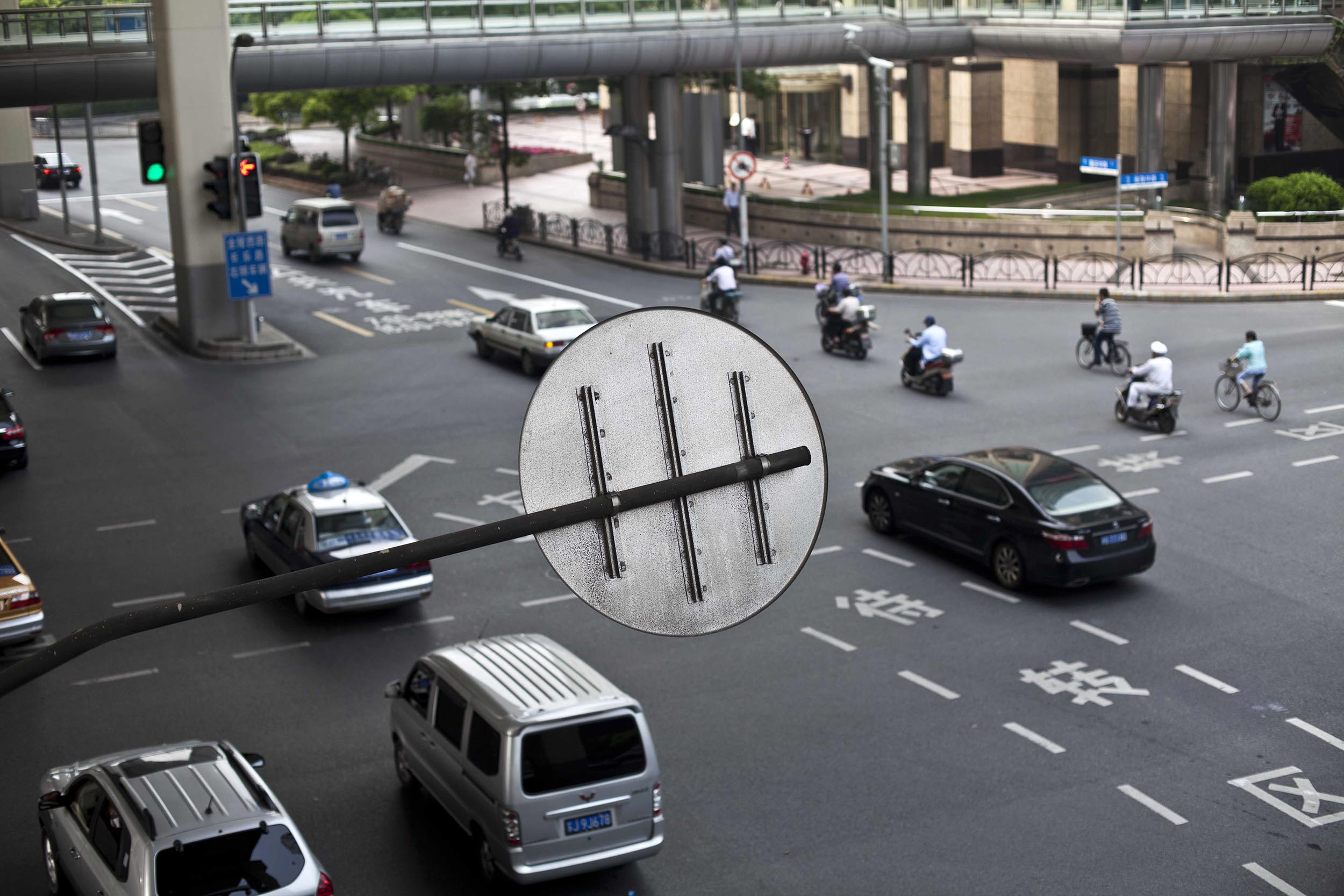 A photograph of a road sign in Shanghai, China  Photography for Beijing Government