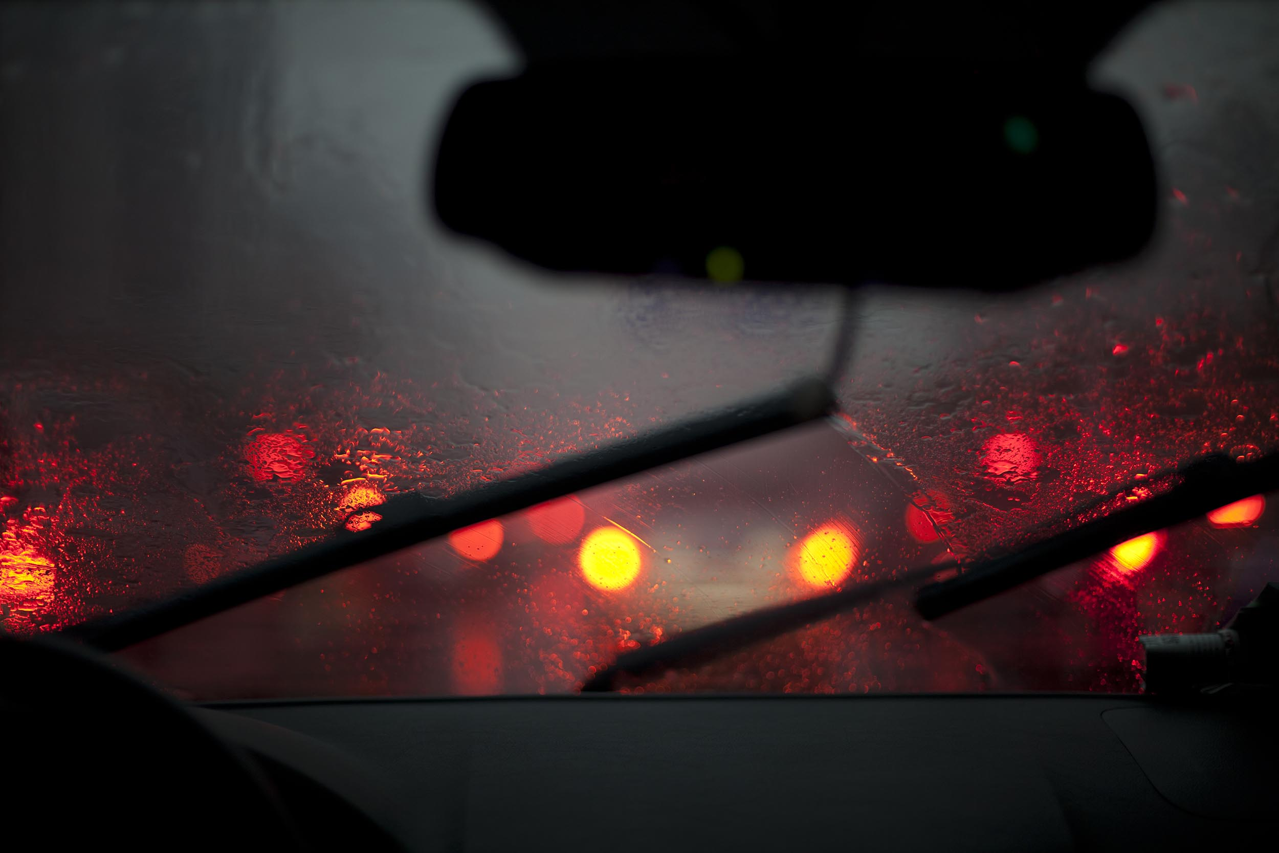 A photograph of rain on a windscreen at night Shanghai, China  Photography for personal project
