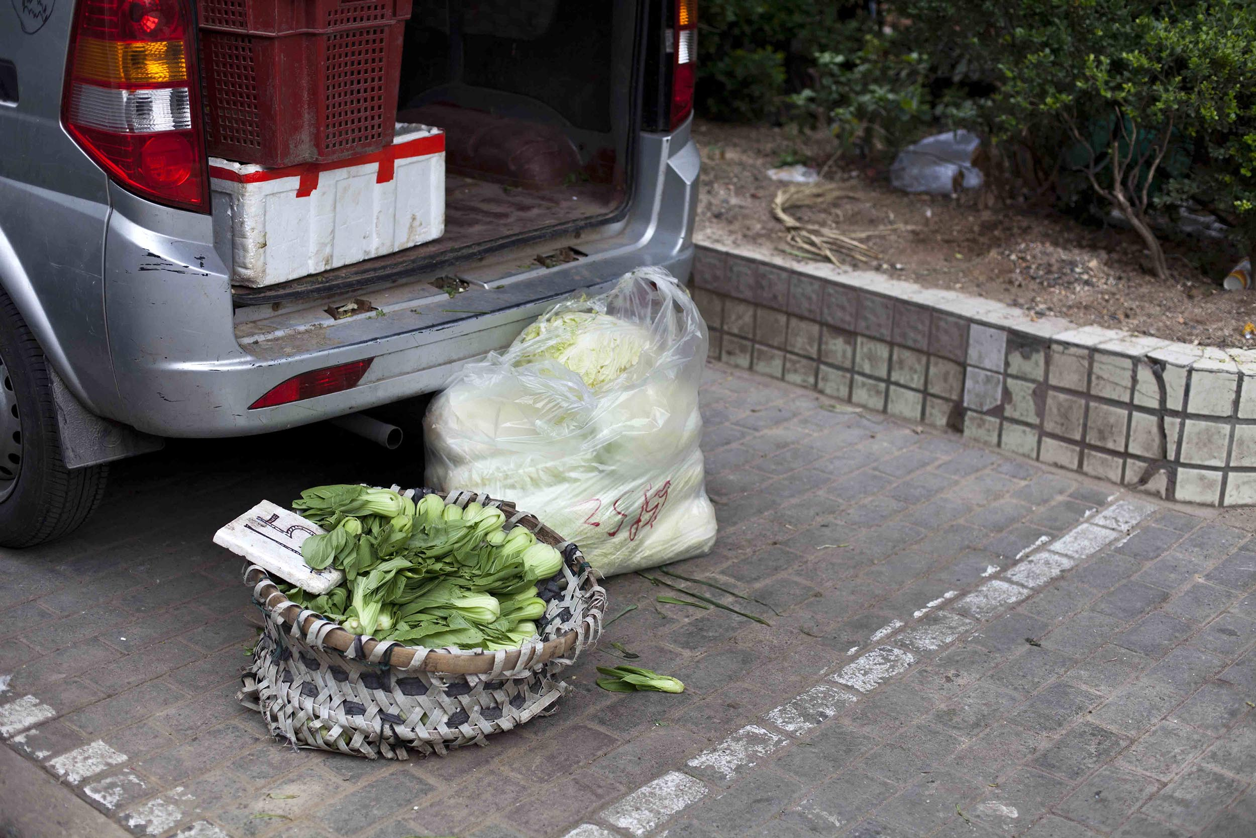 A photograph of vegetables by a car in Shanghai, China  Photography for personal project