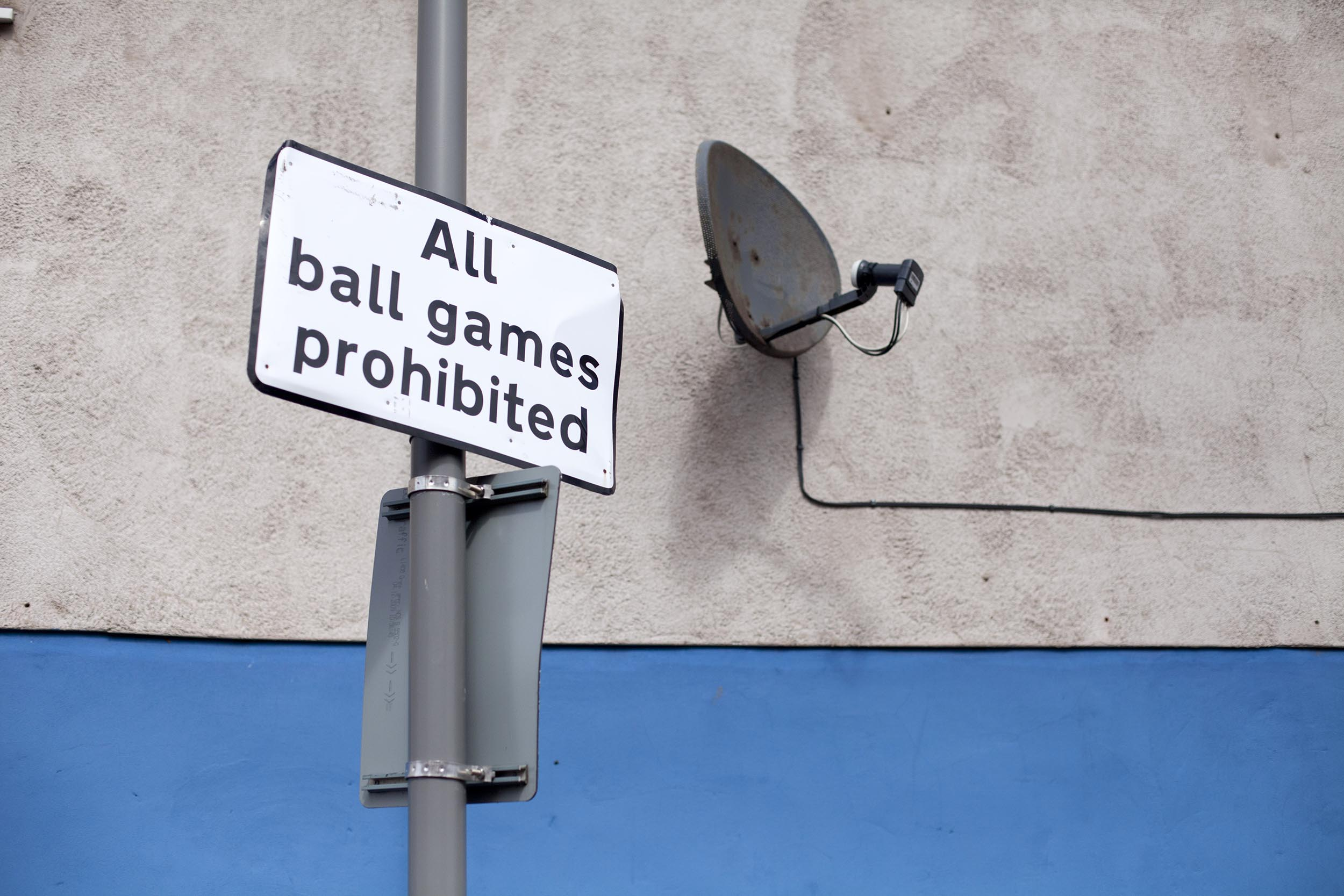 No ball games sign near Goodison Park, Liverpool - Documentary Photography