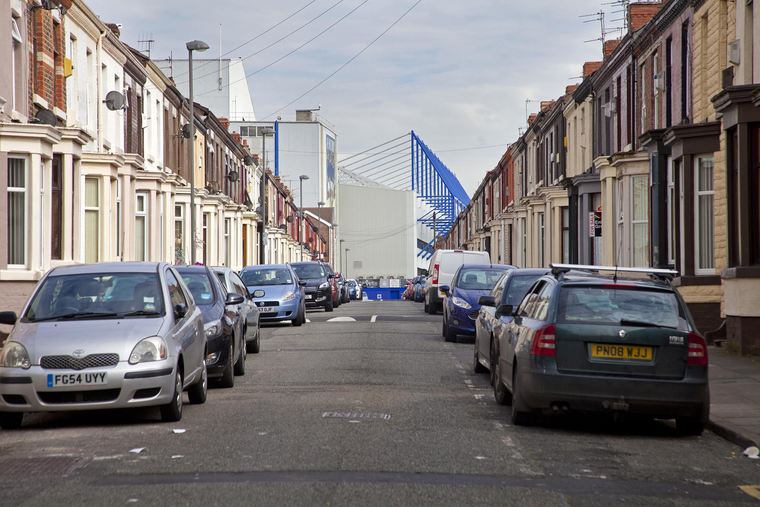 View down terrace street of Goodison Park, Liverpool - Documentary Photography