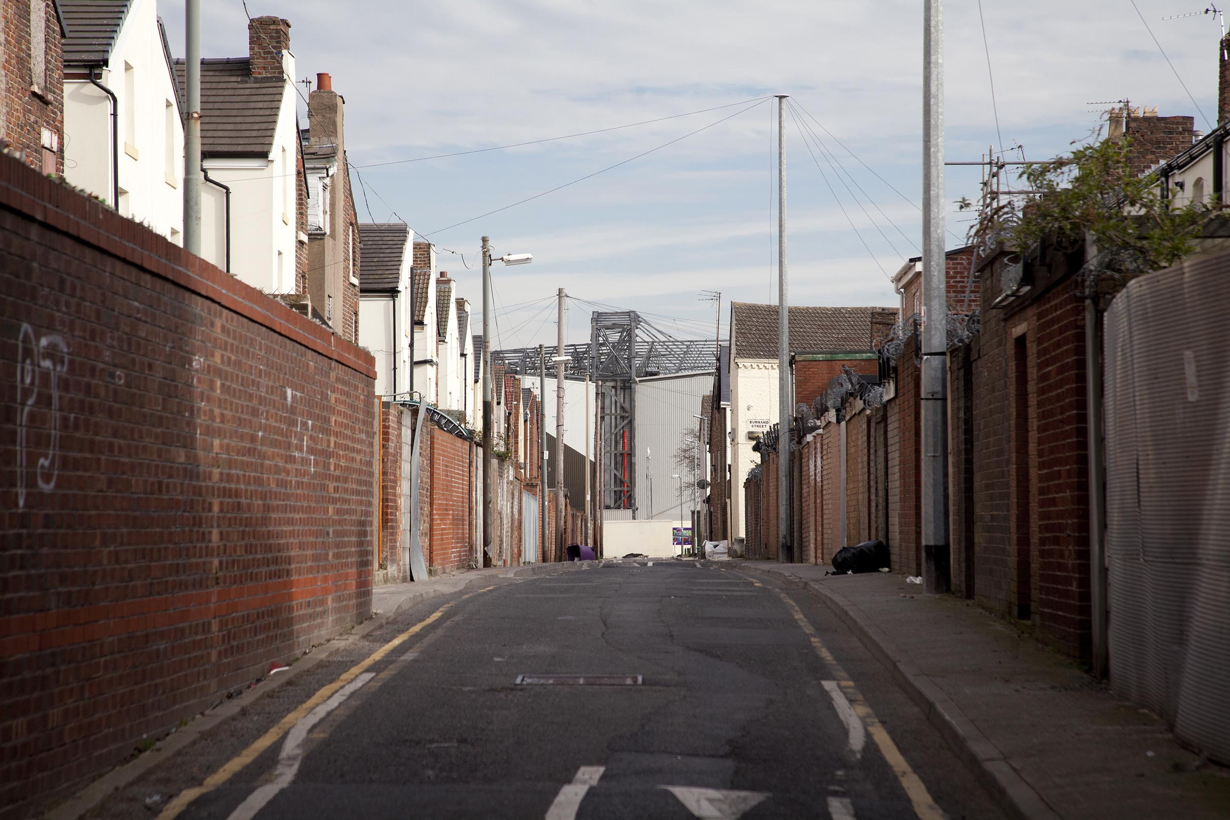 View of Anfield down back alleys, Liverpool - Documentary Photography