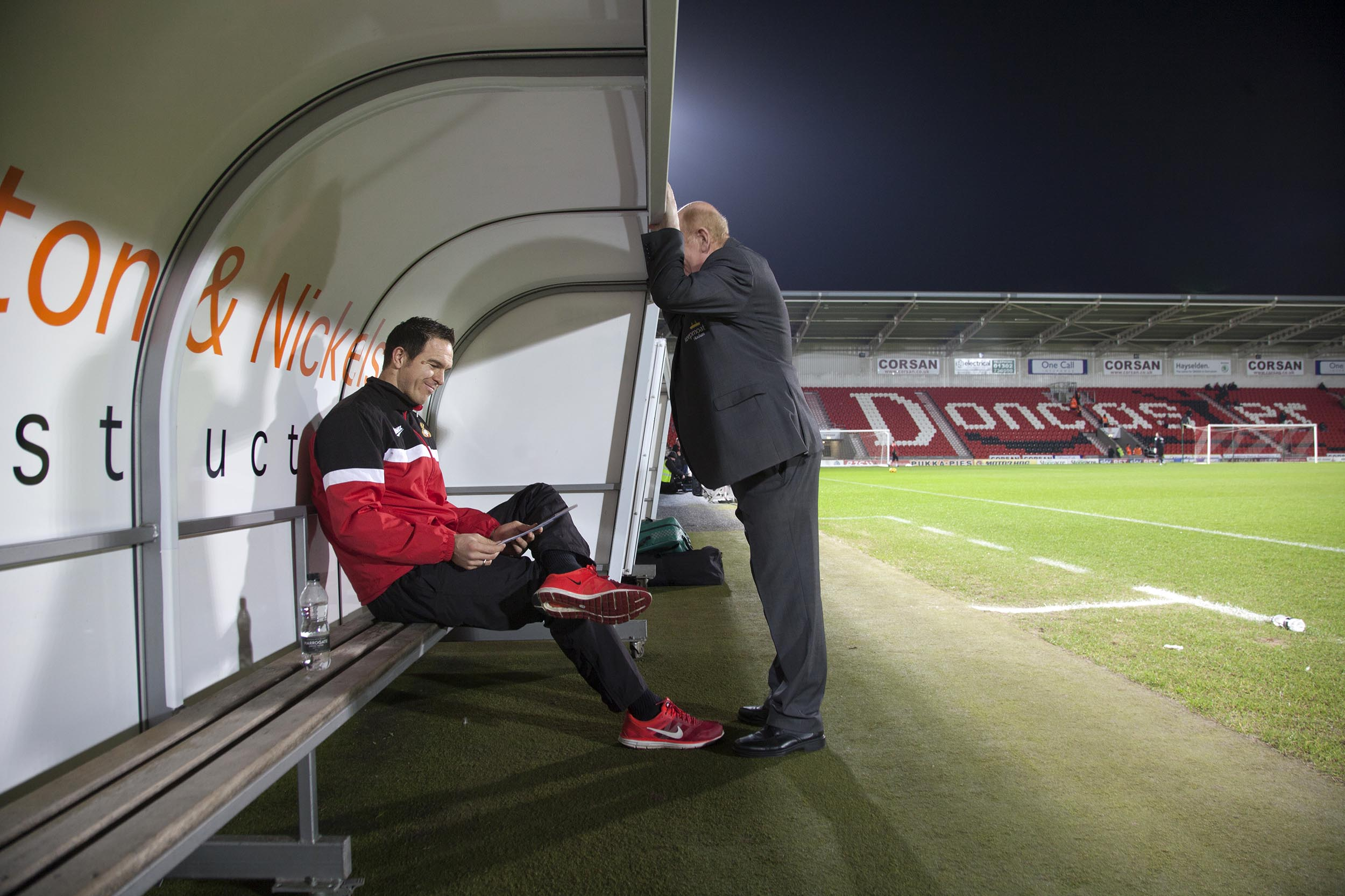 A documentary photograph of Thorsten Stuckmann at Doncaster Rovers' Keepmoat Stadium.  I was commissioned as documentary photographer by German football magazine 11 Freunde.