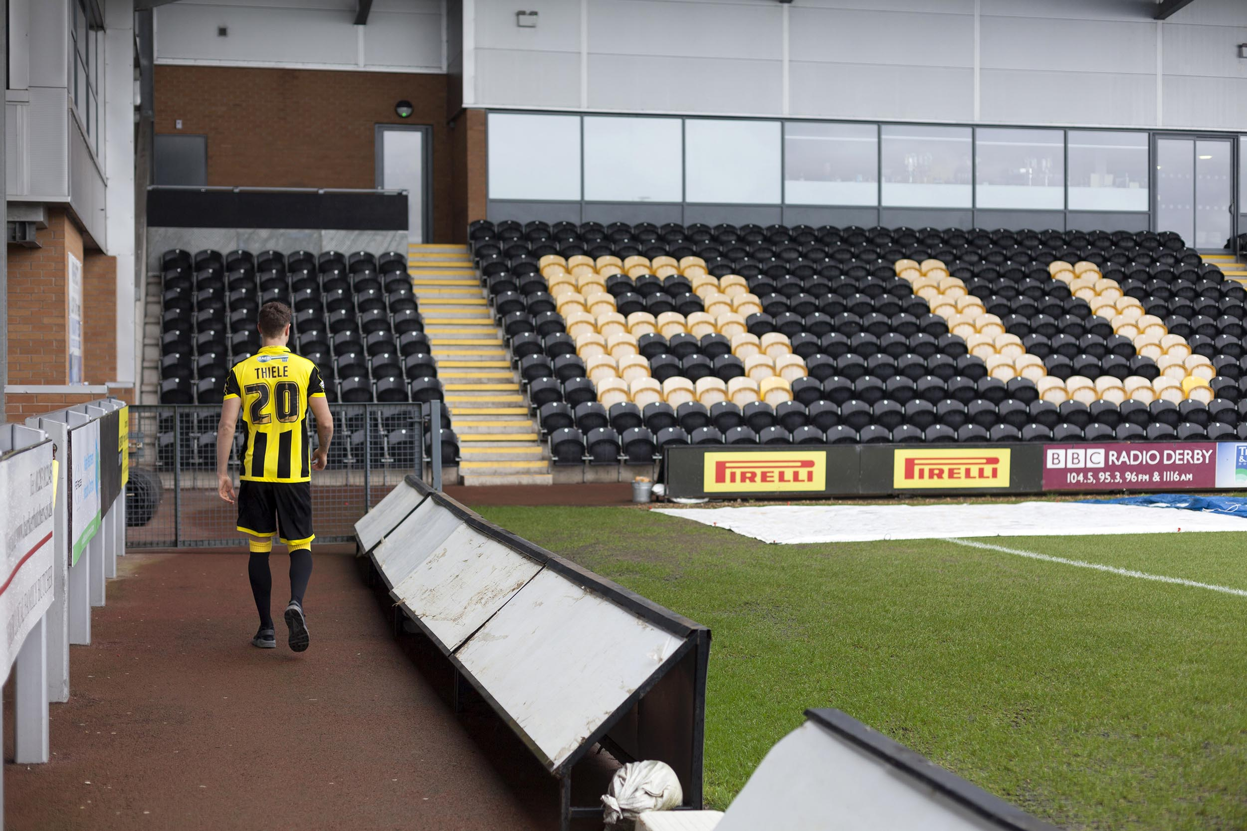 A portrait photograph of footballer Timmy Thiele at Burton Albion  I was commissioned as documentary photographer by German football magazine 11 Freunde.