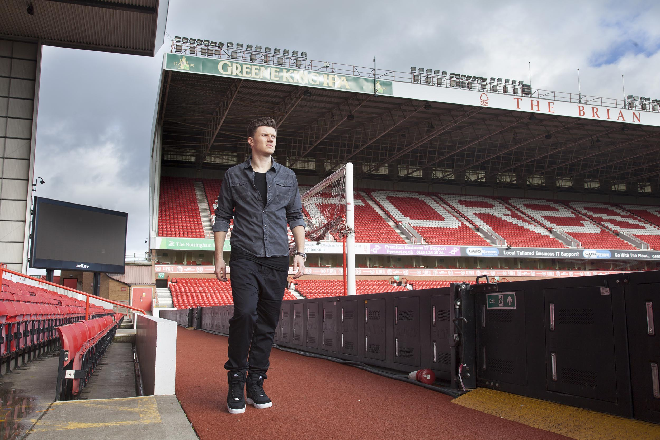 A portrait photograph of footballer Eugen Bopp at Nottingham Forest's City Ground.  I was commissioned as documentary photographer by German football magazine 11 Freunde.