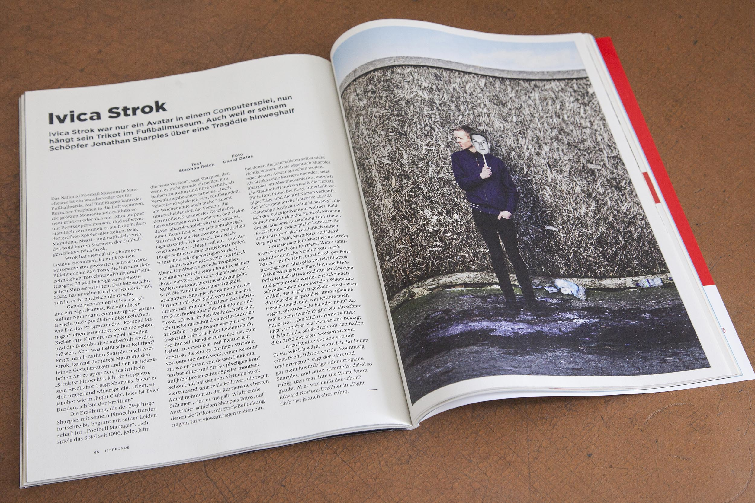Double page spreads of German football magazine 11 Freunde magazine containing my documentary photography