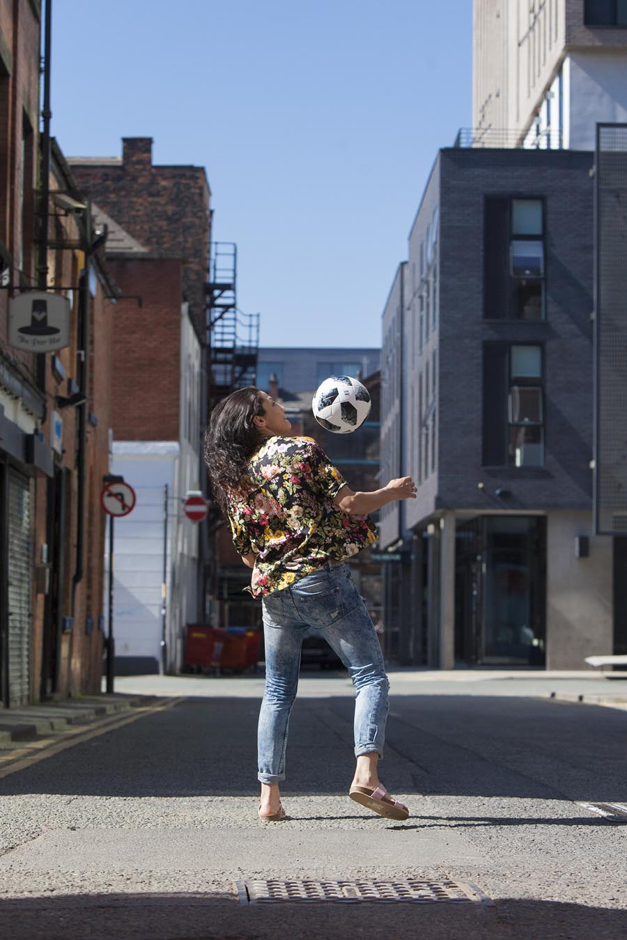 A portrait photograph of footballer Nadia Nadim.  Photographed for Scandinavian Airlines