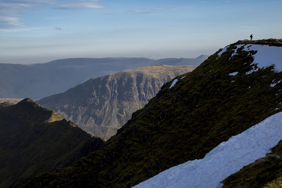 A photograph taken from the slopes of Helvellyn, Lake District, Cumbria, England