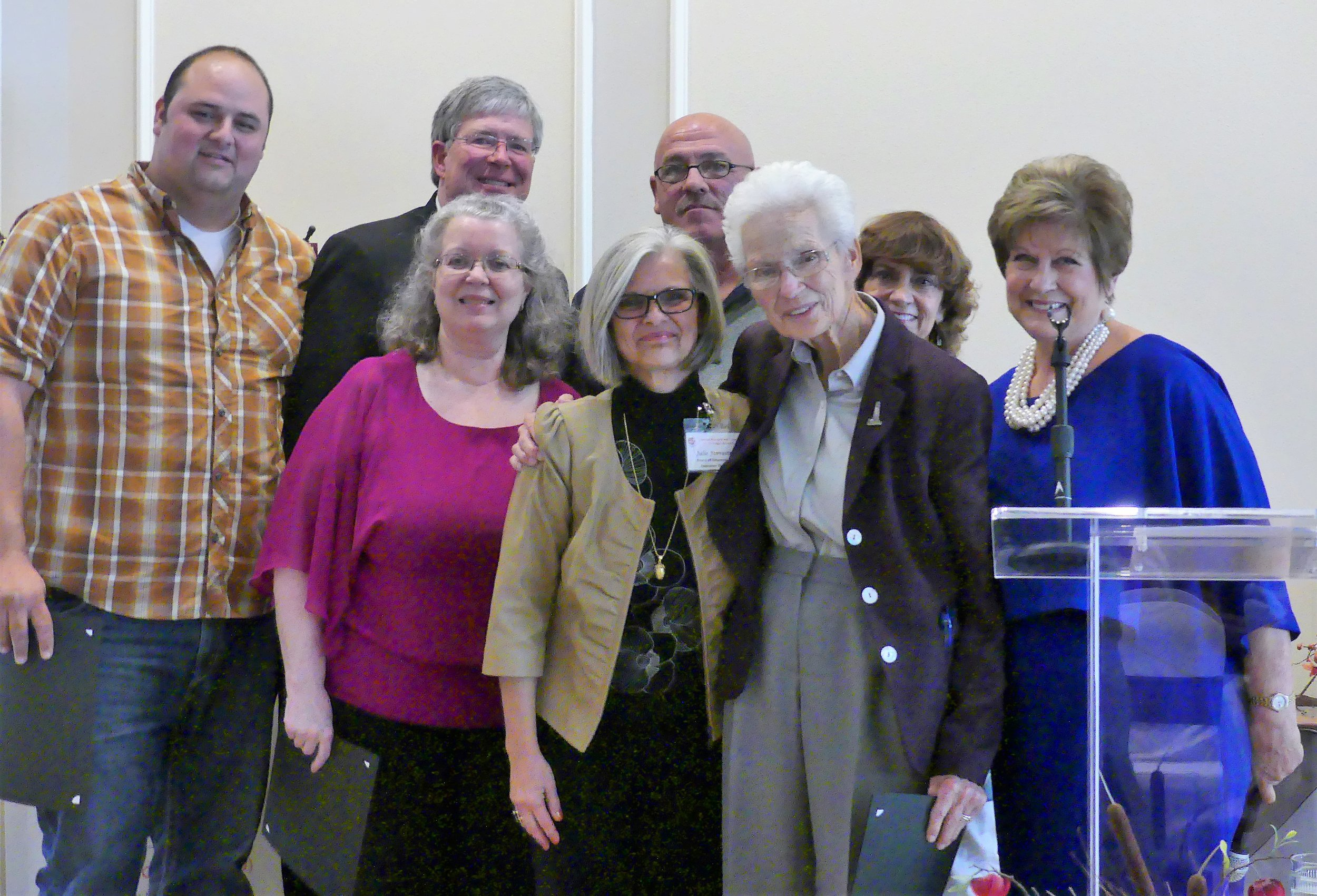 2017 Friend of CWJC - Presented to Mission Arlington, specifically pictured at right — Clark Burgin, Debbie Musgrave, Jim Burgin, Marvin Rogers, and Tillie Burgin. Also pictured, Julie Forrester, CWJC Director, Maritta Sumner & Judy Duke, Board & Ruby committee members.