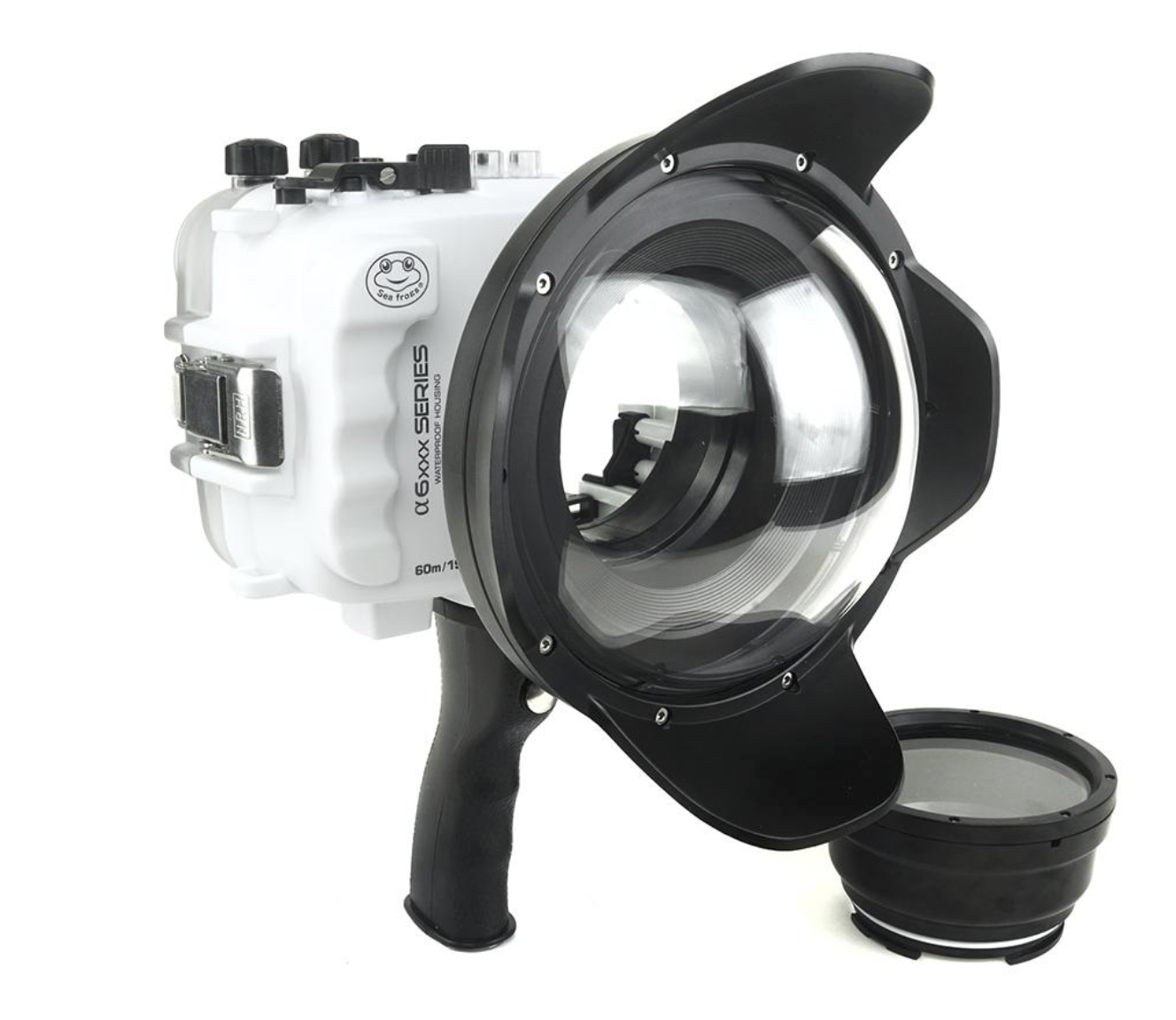 SeaFrogs UW housing for Sony A6xxx series Salted Line with pistol grip & 6 inch Dry dome port for rent LA.png