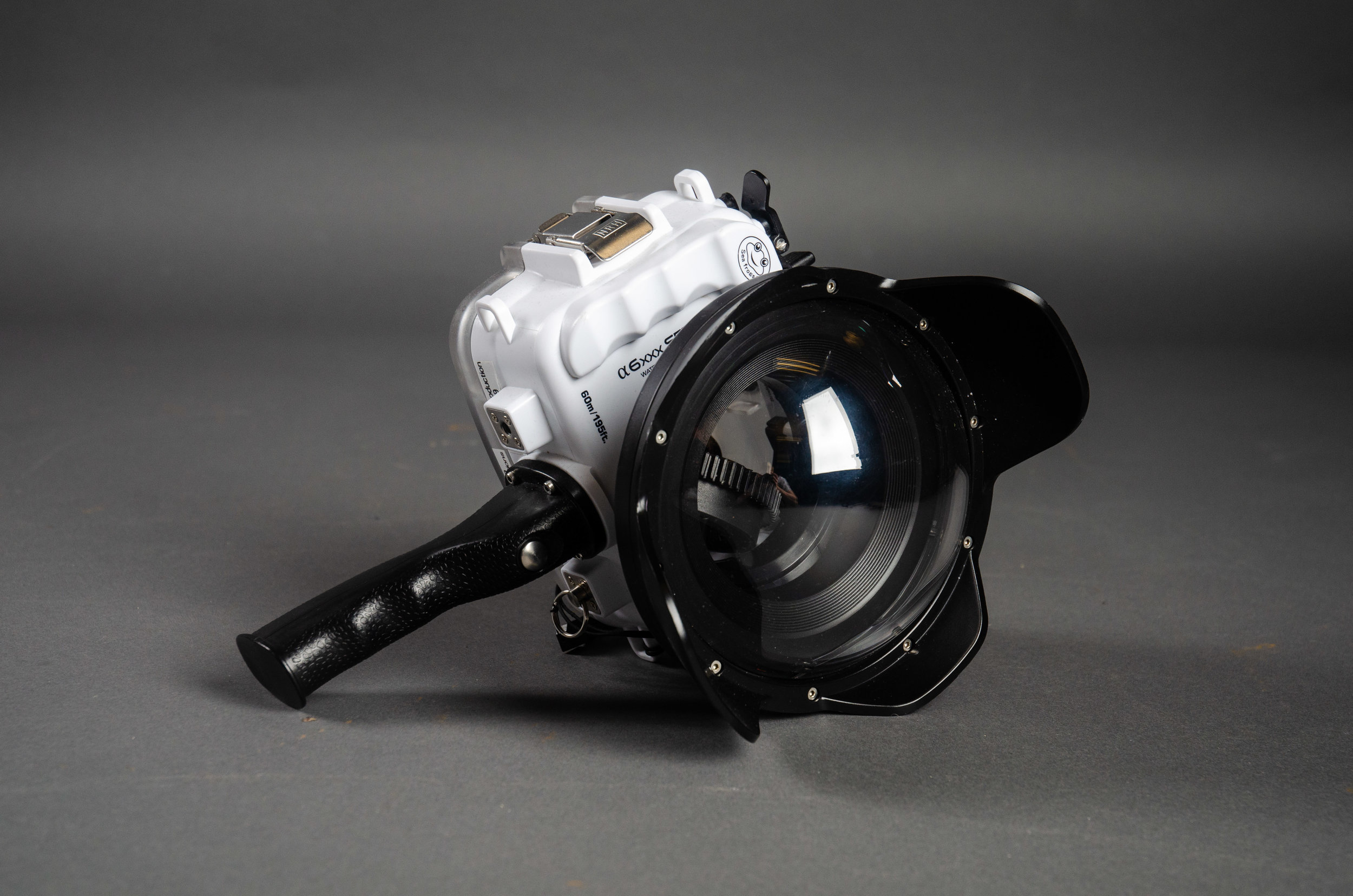 SeaFrogs UW housing for Sony A6xxx series Salted Line with pistol grip & 6 inch Dry dome port for rent LA.jpg
