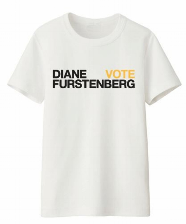 Diane von Furstenberg worked with  ELLE  to promote voter registration with this tee, via      dvf.com     . DvF will be making a donation to the      ACLU     .