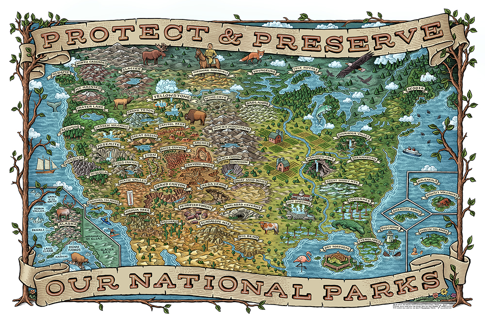 National Parks Map by Mario Zucca