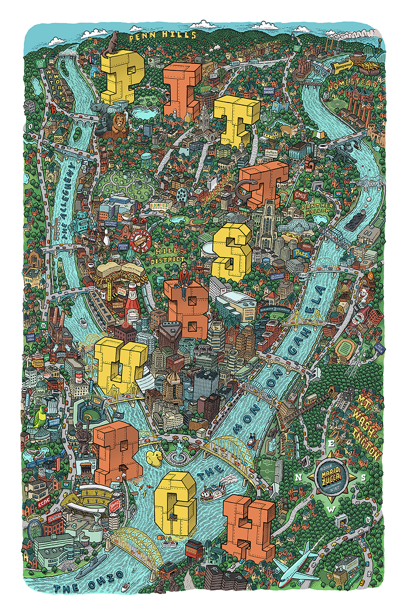 Pittsburgh Map by Mario Zucca