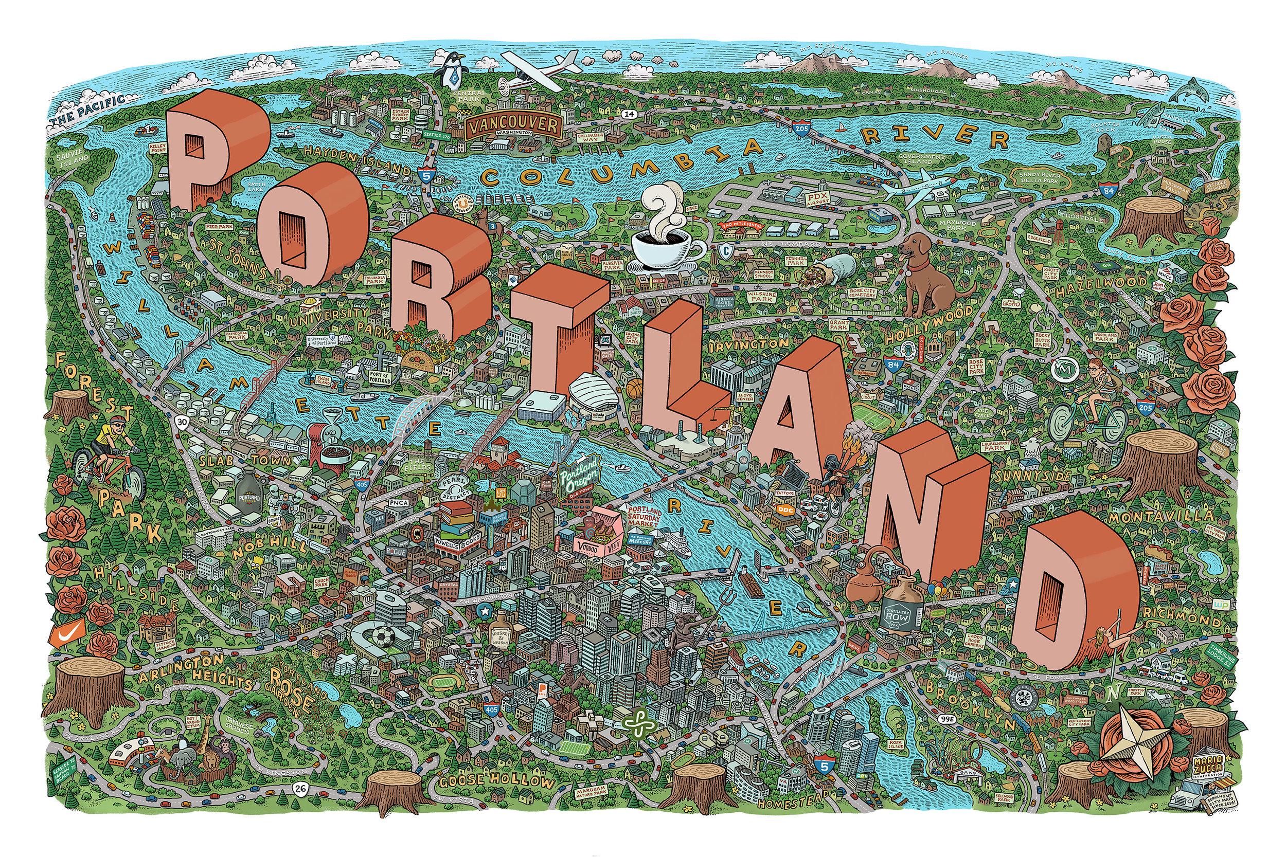 Portland Map by Mario Zucca