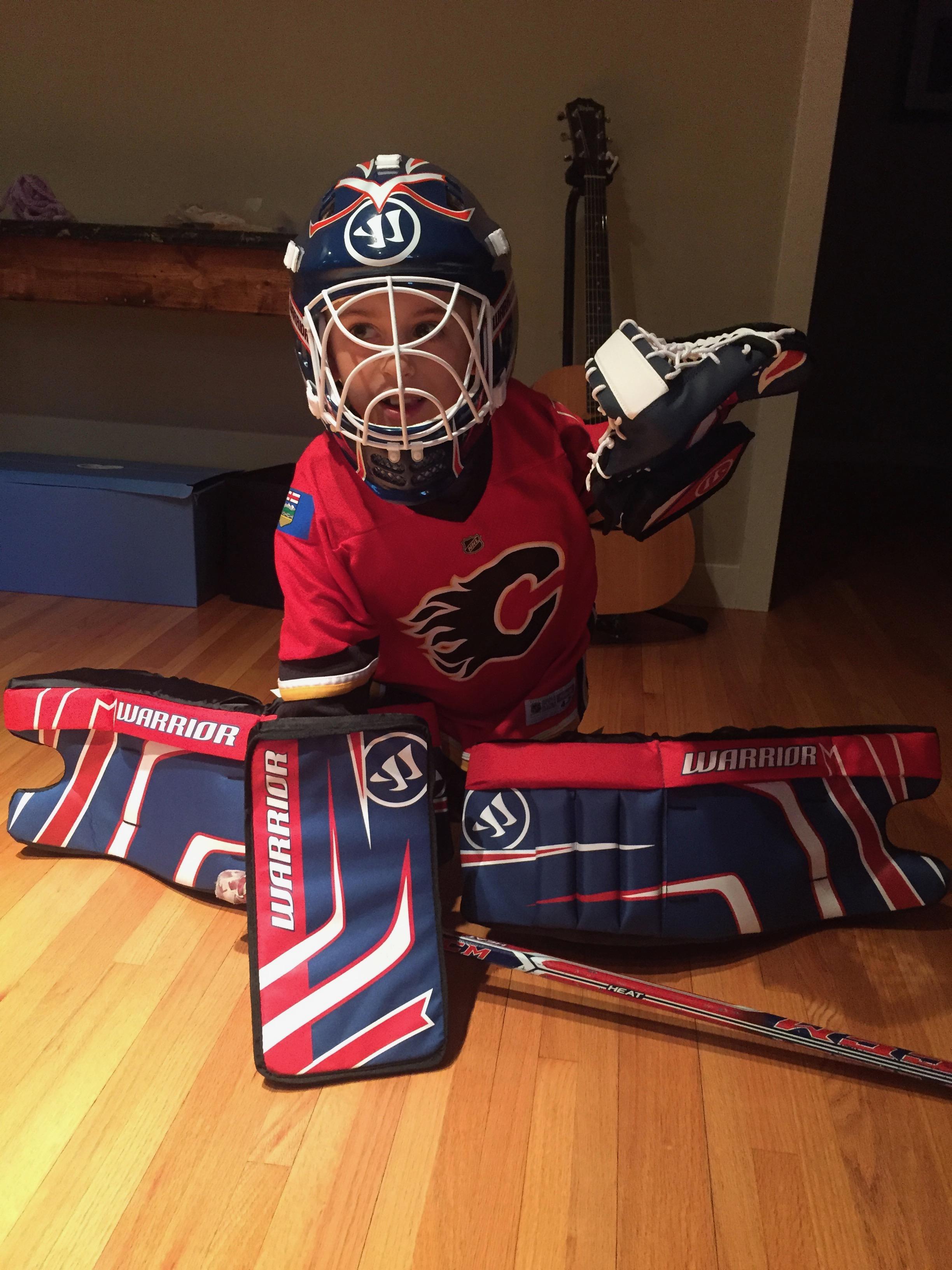 Ben's birthday goalie gear.