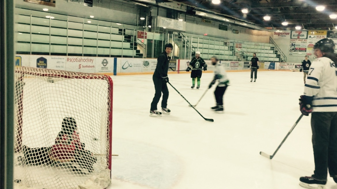 Ben playing nets with the big boys today at the Fernie Memorial Arena.