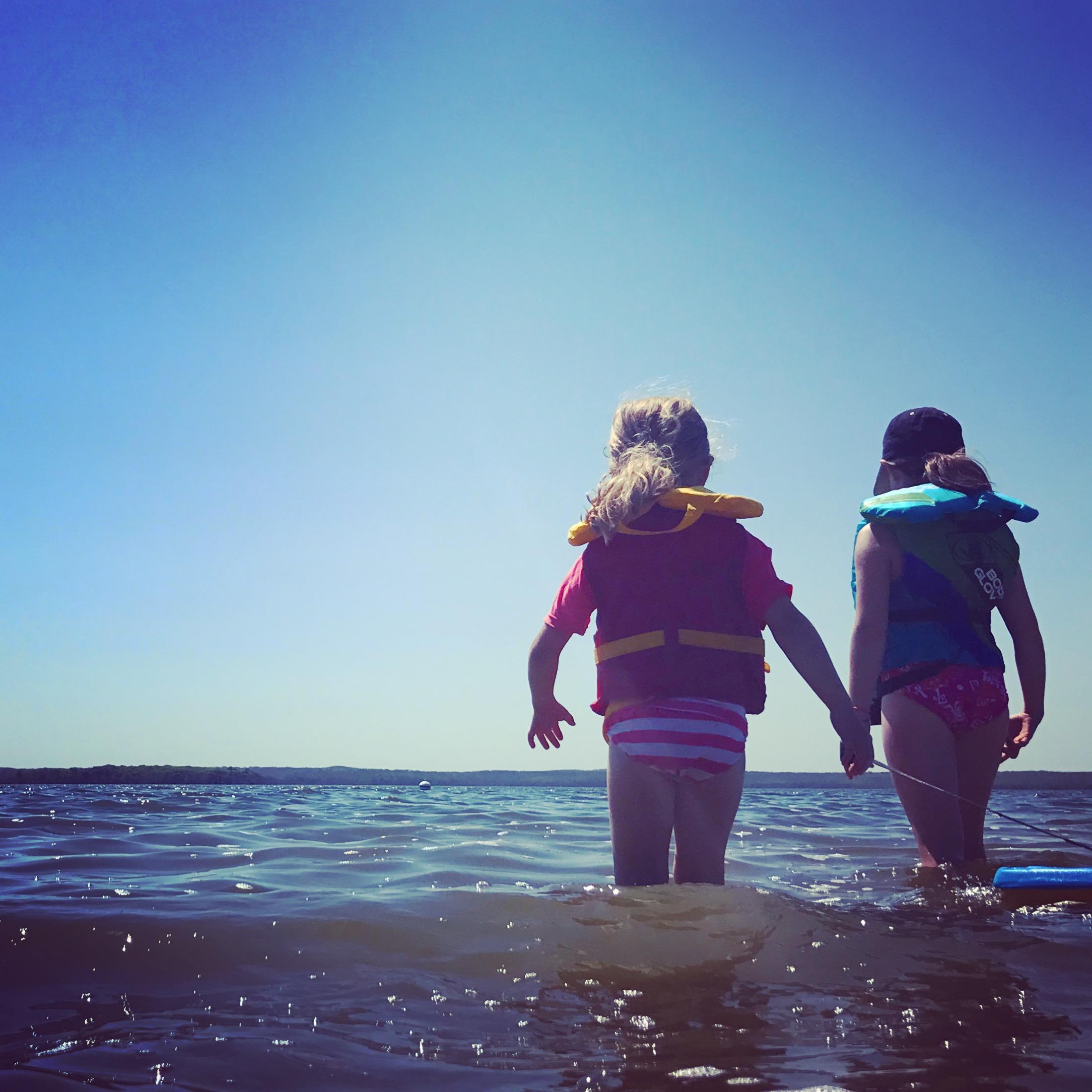 Sophie and Ellie in Kenosee Lake, Saskatchewan.