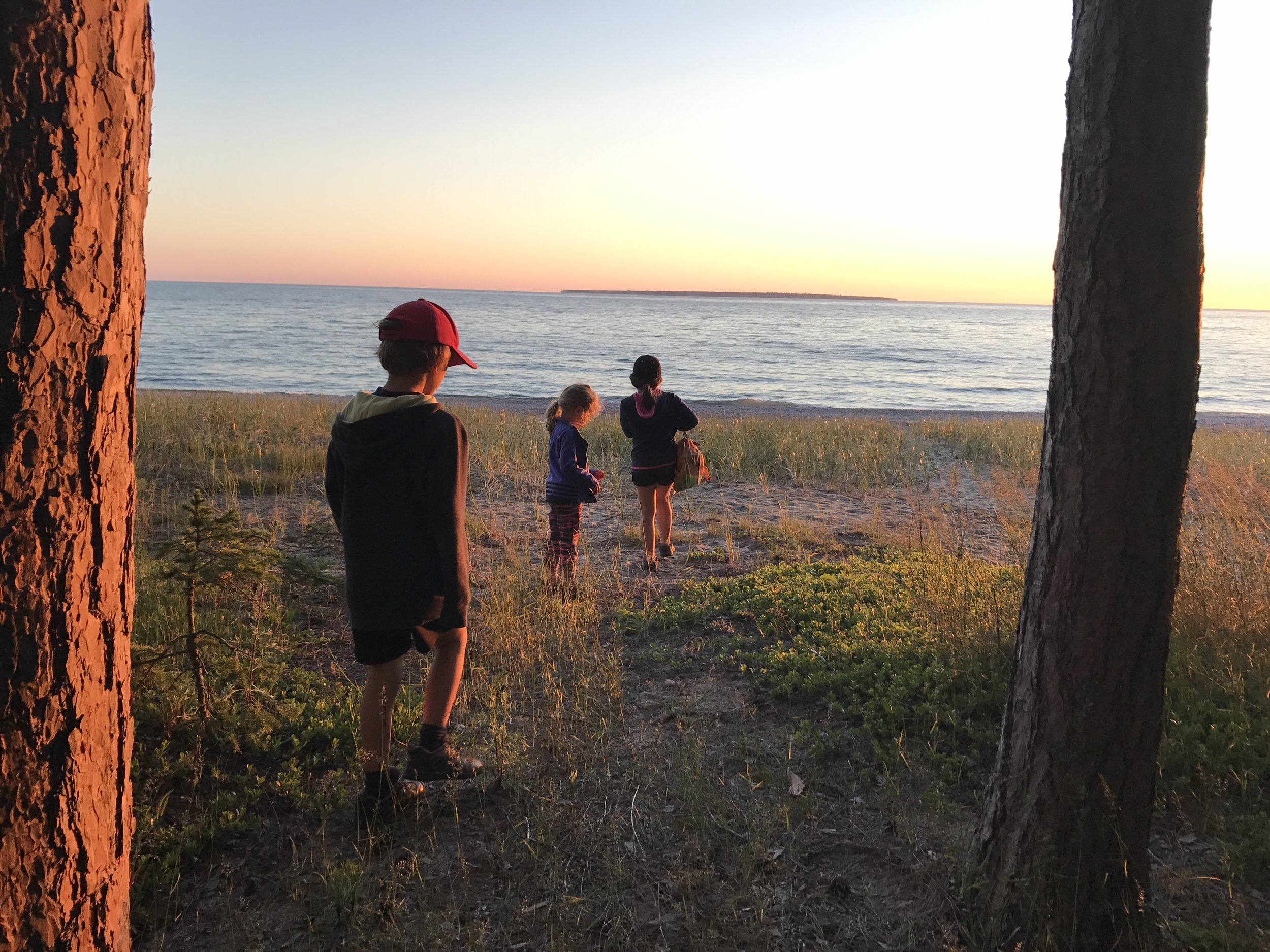 Walking to the Lake Superior Provincial Park's beach.