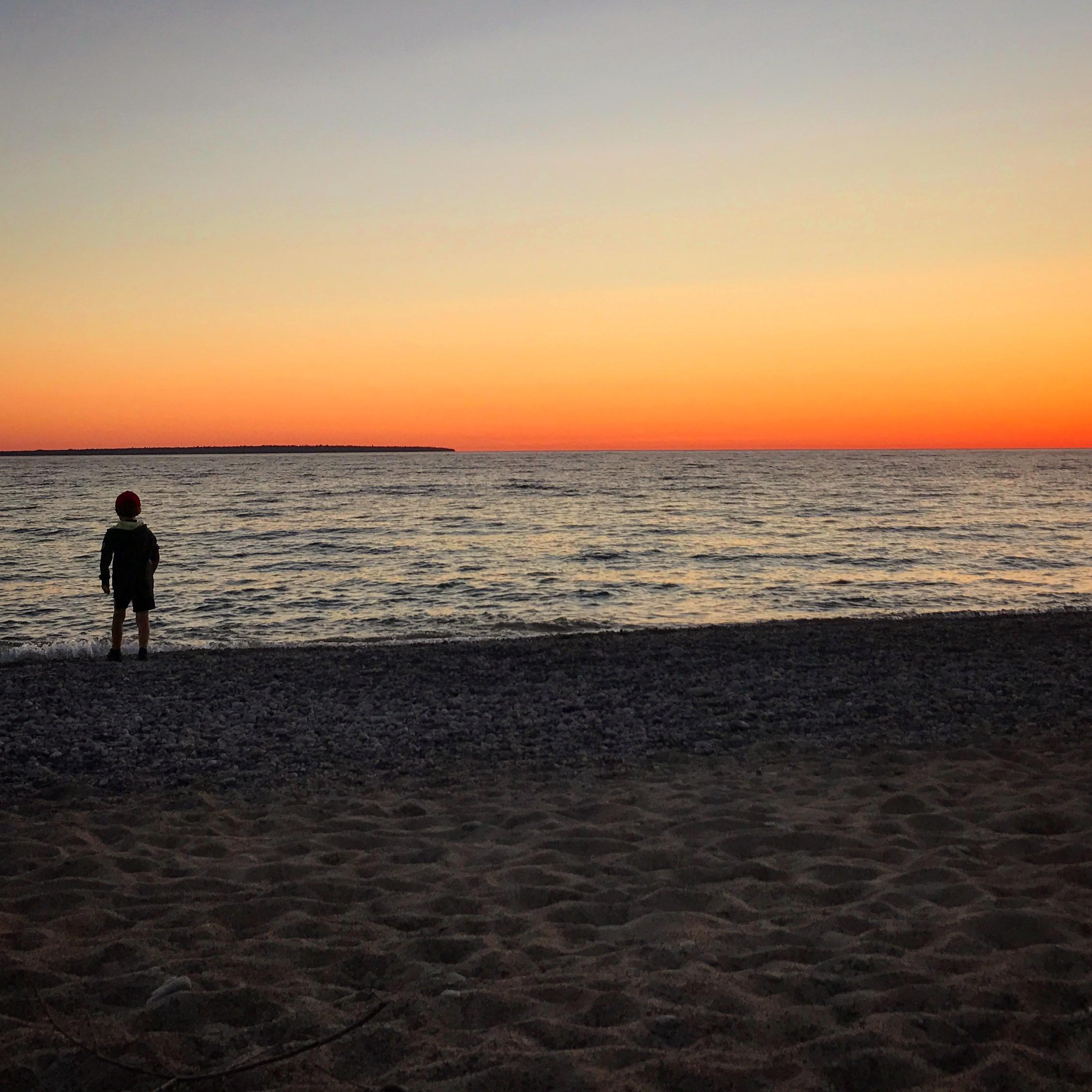 Perfect sunset at Lake Superior.
