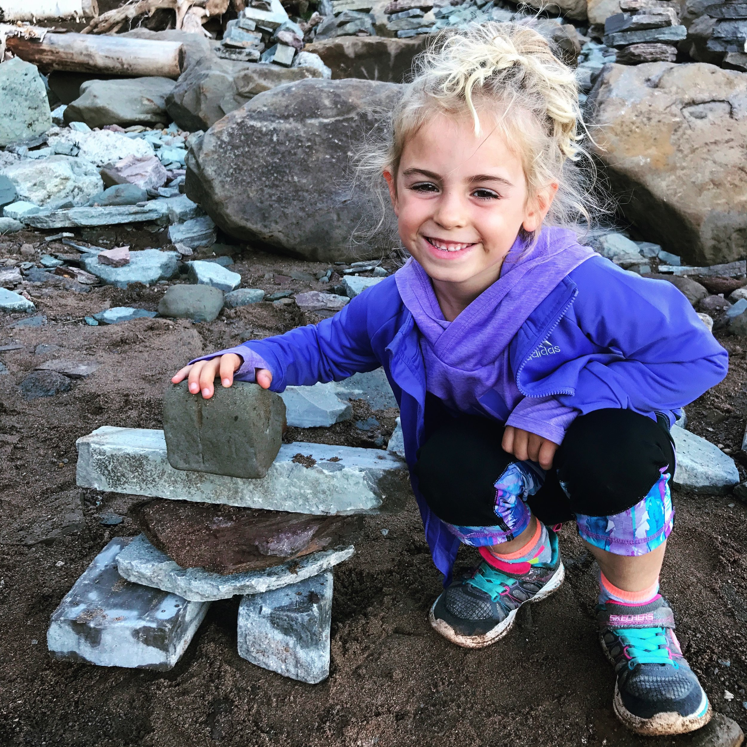 Building Inuksuks on the shores of the Bay of Fundy.