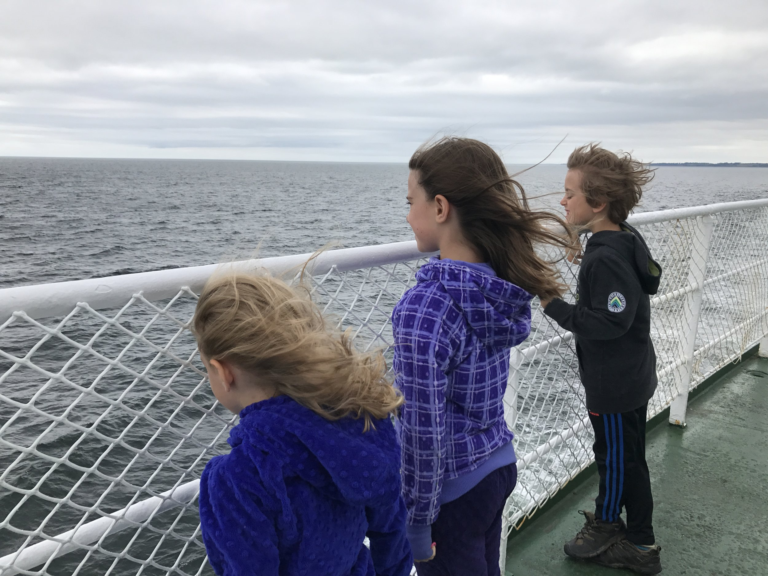 Looking for Nova Scotia's mainland on the ferry from PEI.