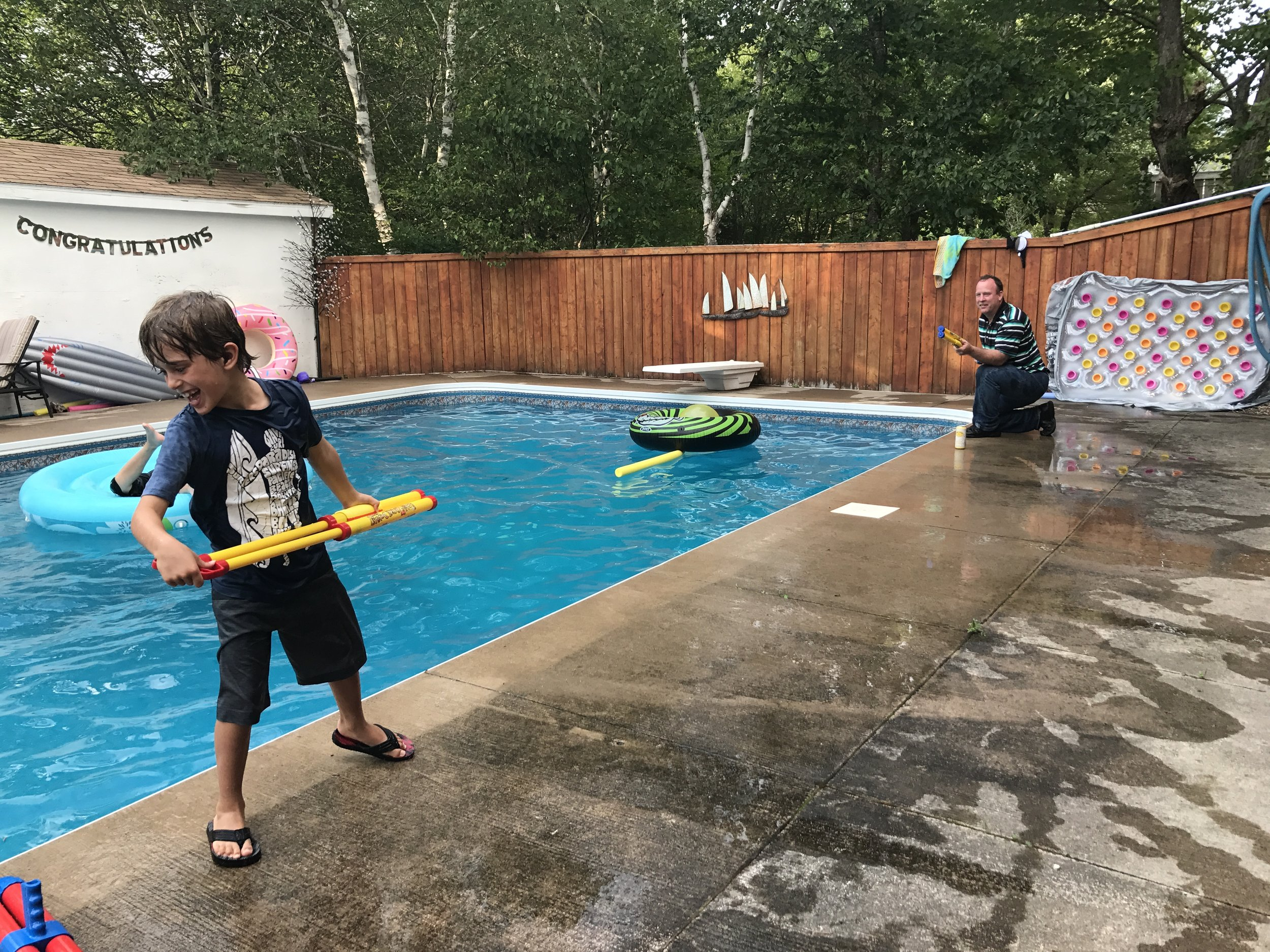 Water fight with Cousin Gord.