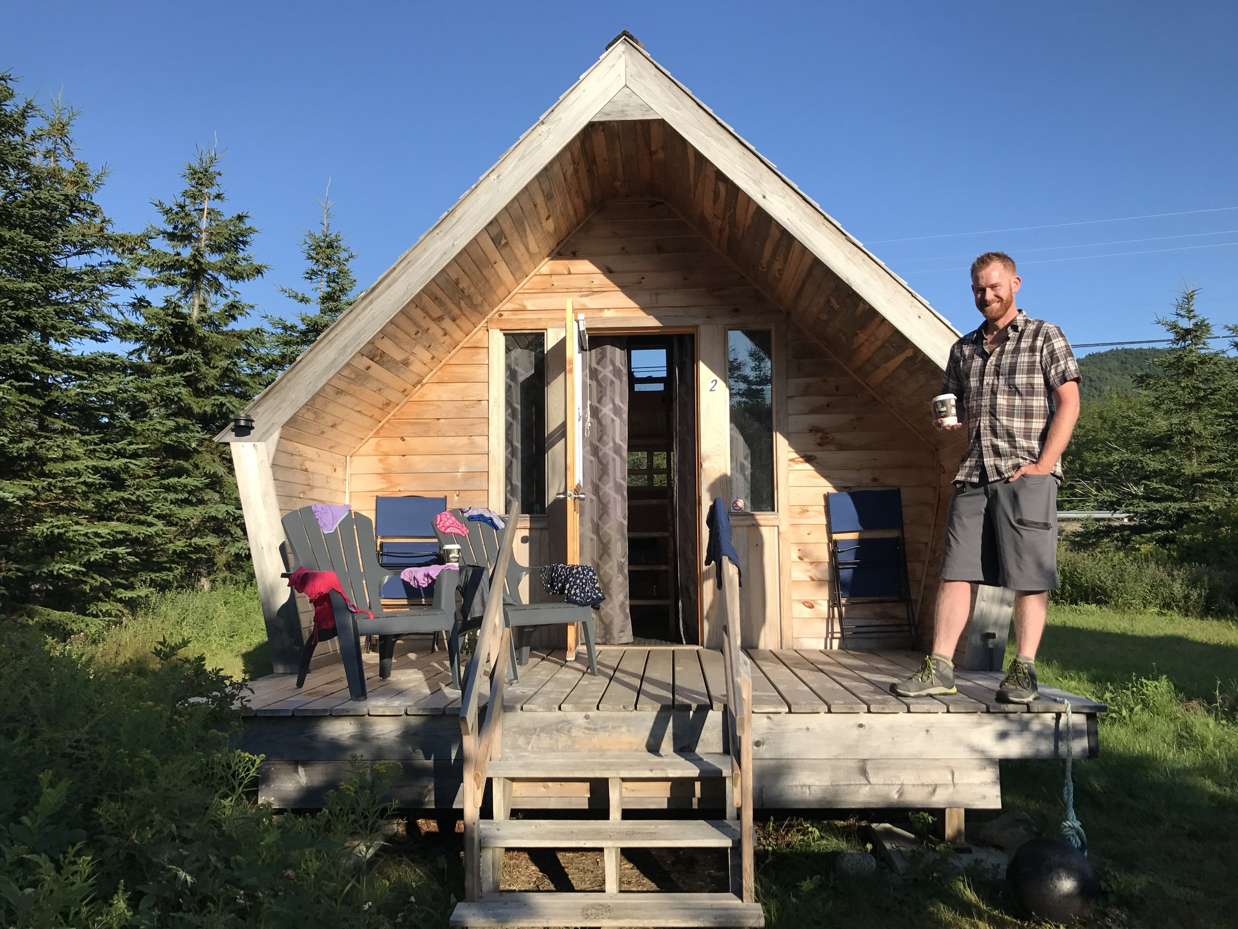 Our glamping cabin at Dancing Moose - Matt makes the cabin look tiny.
