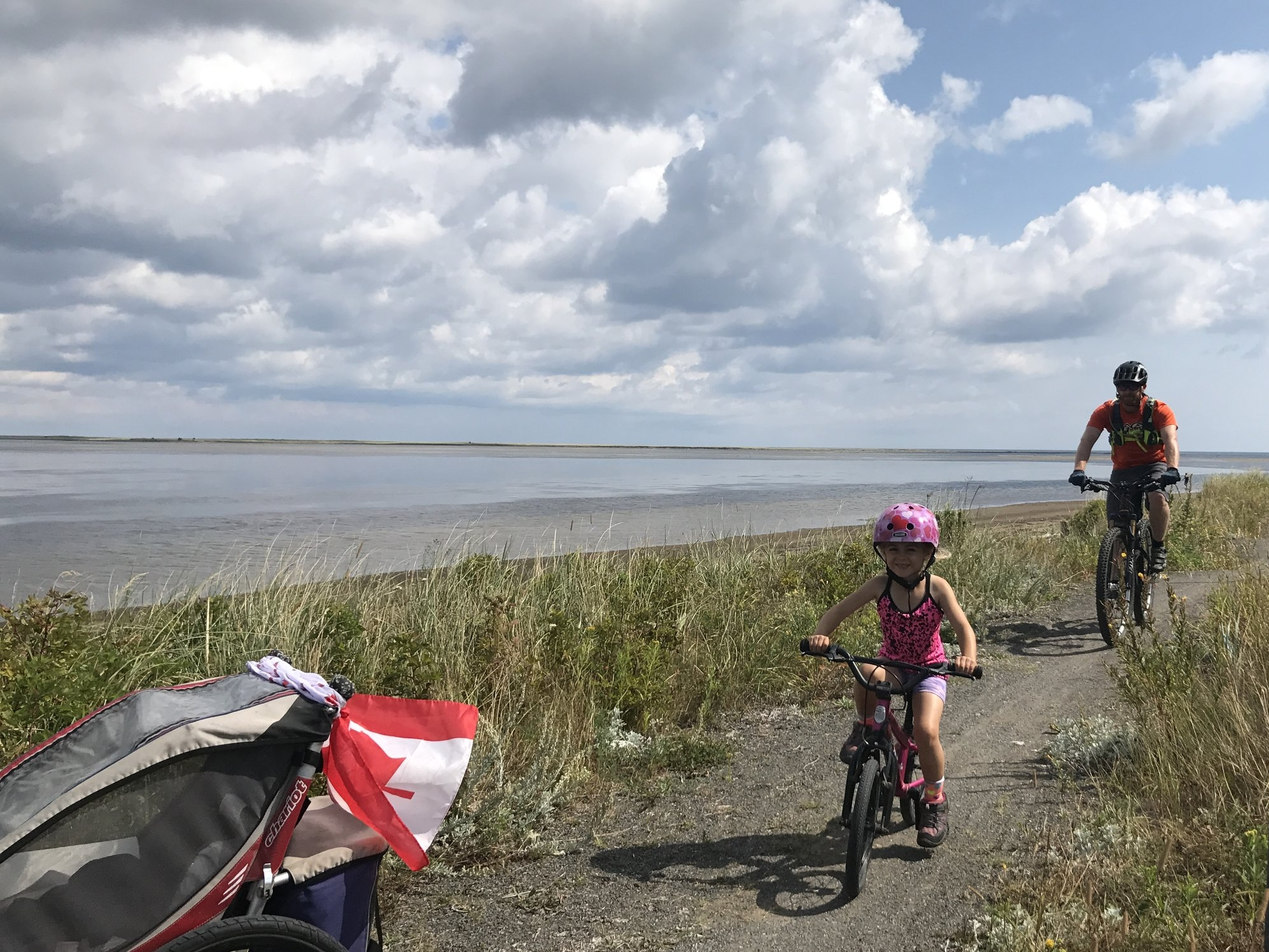 Riding along the coastline in Kouchibouguac.