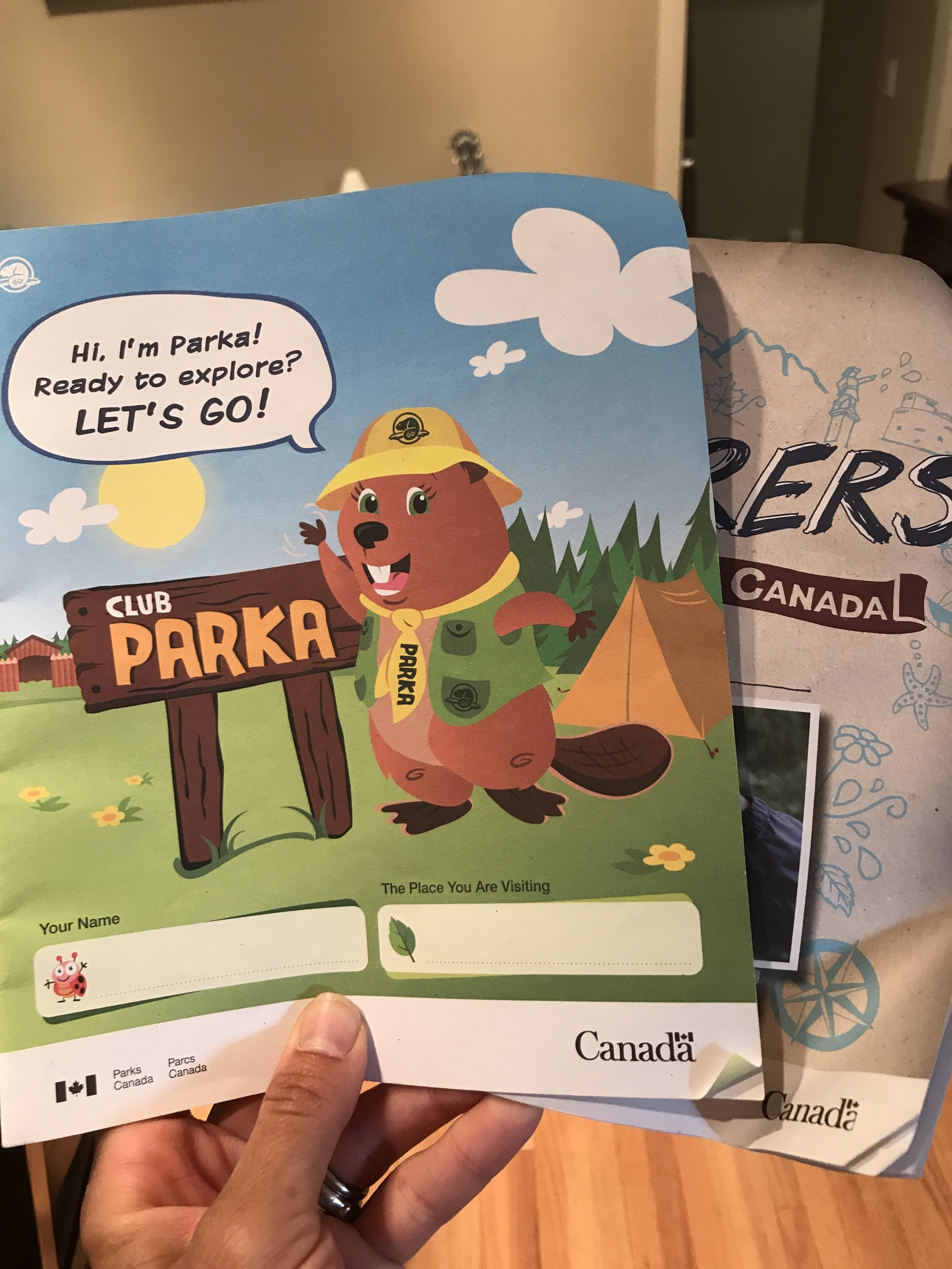 Parks Canada booklets for kids are available at all National Parks. Parka is the beaver mascot.